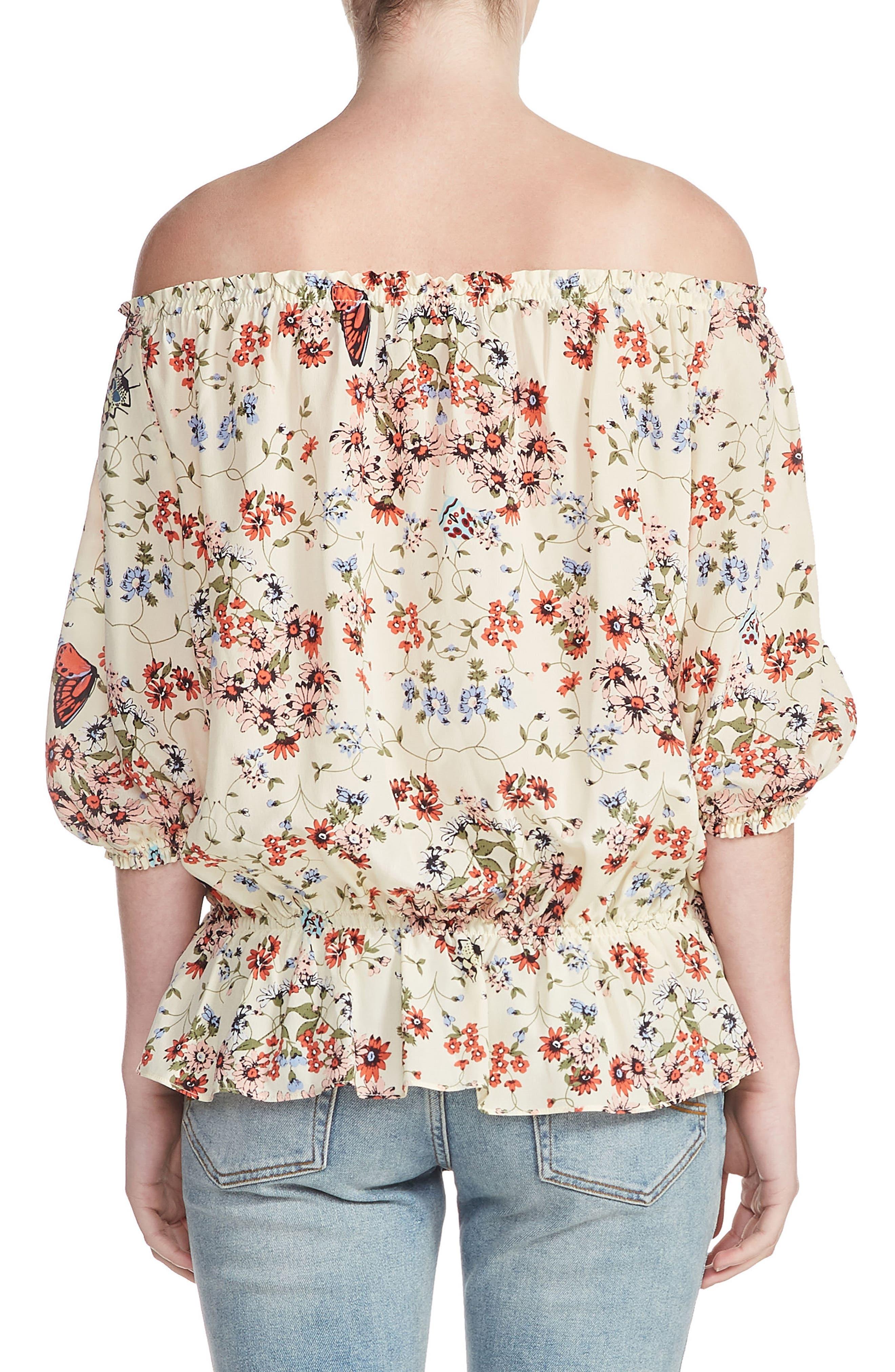 Lucky Floral Silk Top,                             Alternate thumbnail 2, color,                             900