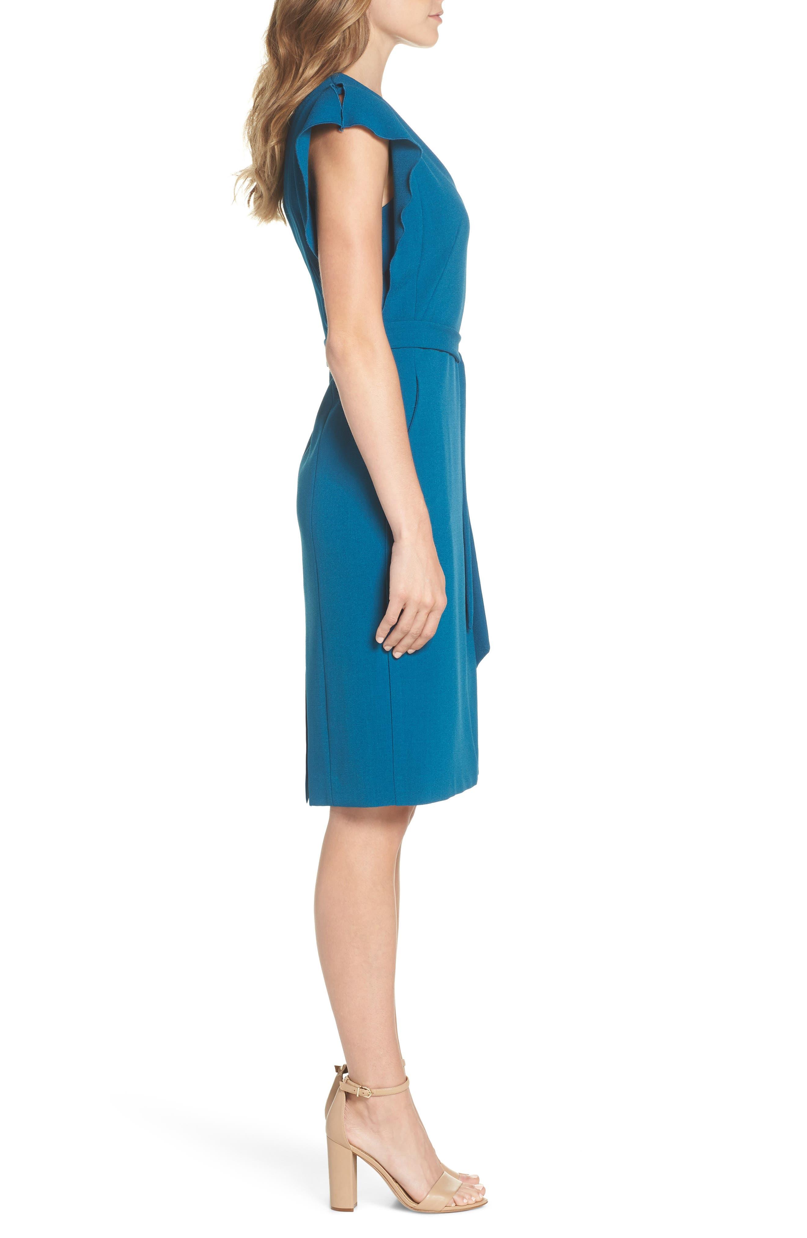 Ruffle Sleeve Sheath Dress,                             Alternate thumbnail 3, color,                             TEAL