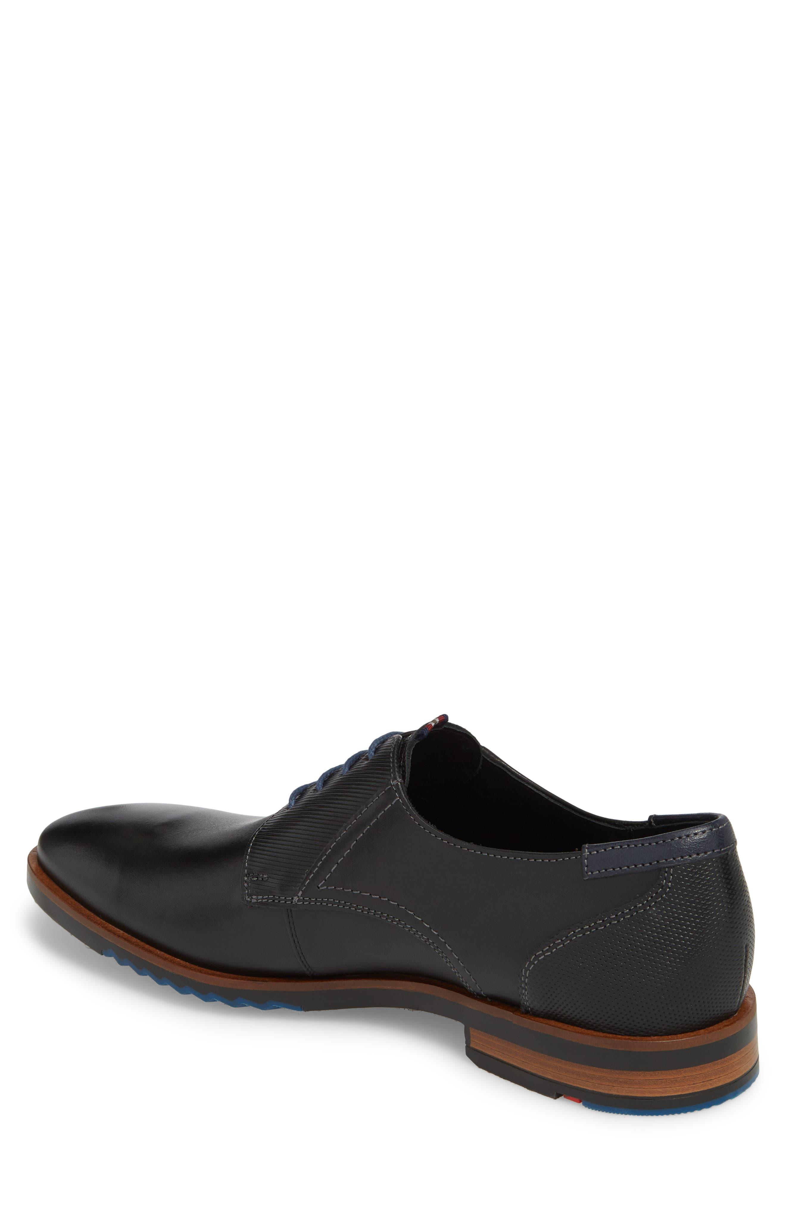Deno Plain Toe Derby,                             Alternate thumbnail 2, color,                             BLACK/ BLUE LEATHER