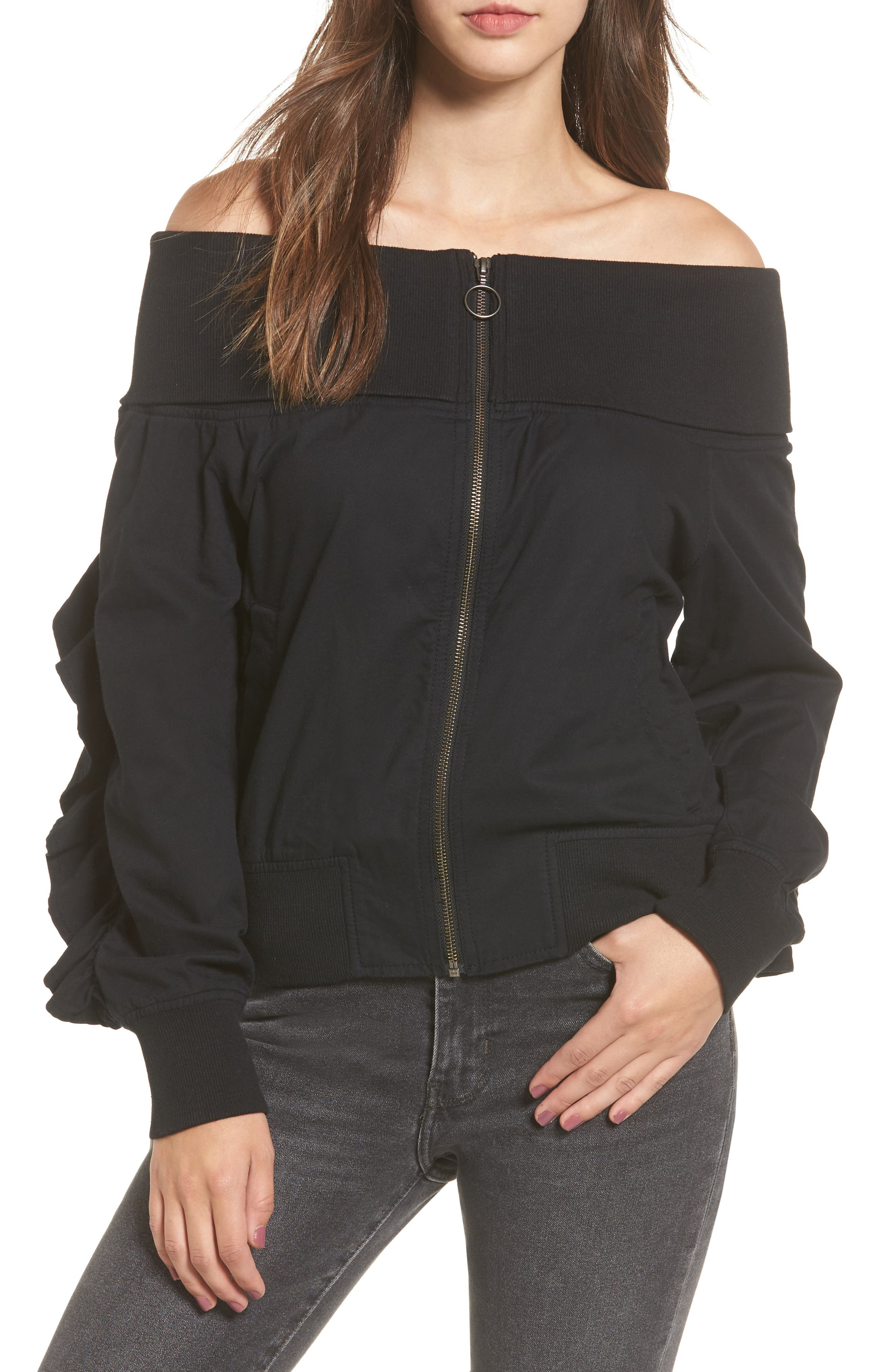 Ruffle Off the Shoulder Bomber,                             Main thumbnail 1, color,                             001