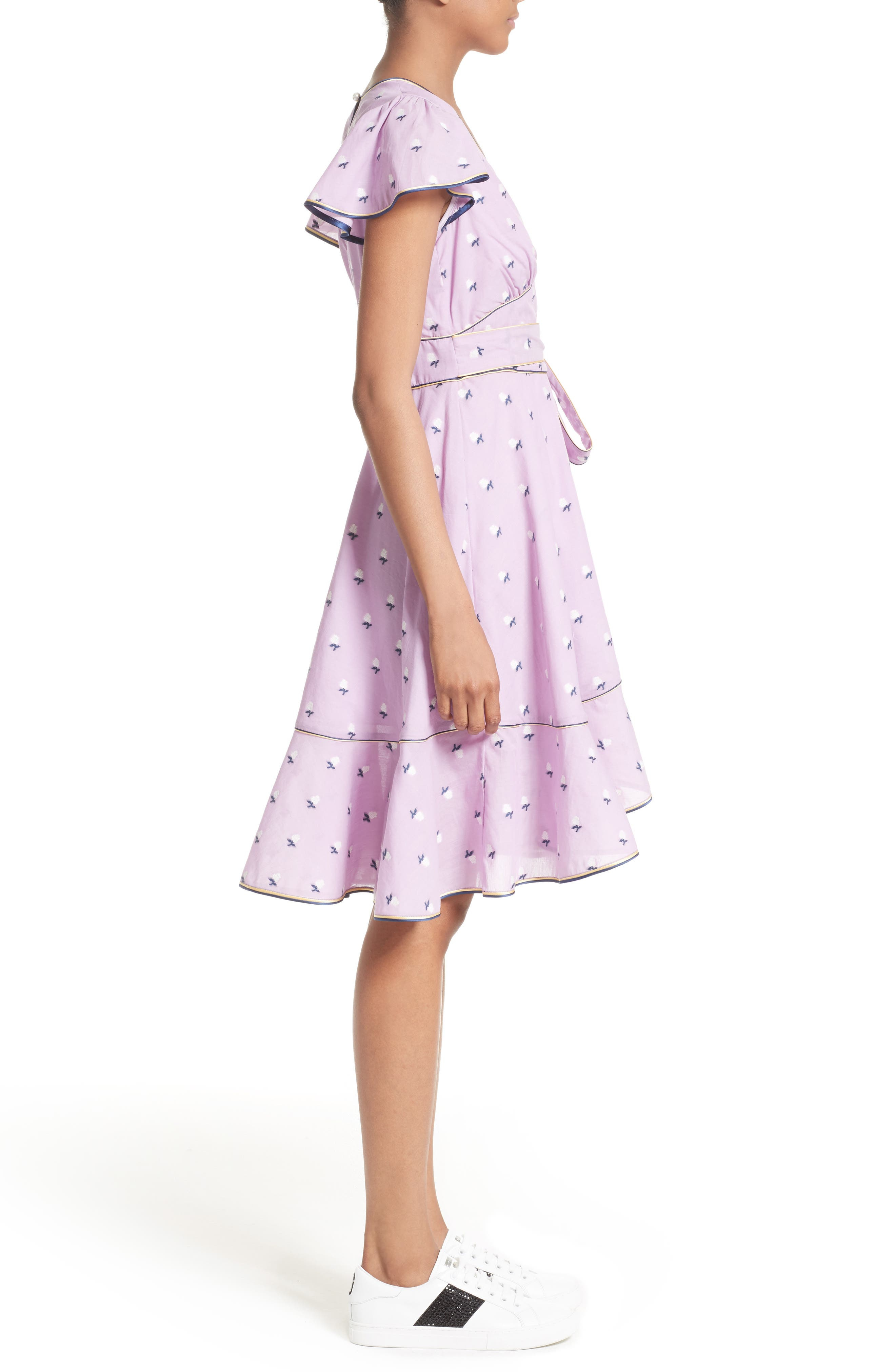 Ruffle Reverse Fil Coupé Dress,                             Alternate thumbnail 3, color,                             507
