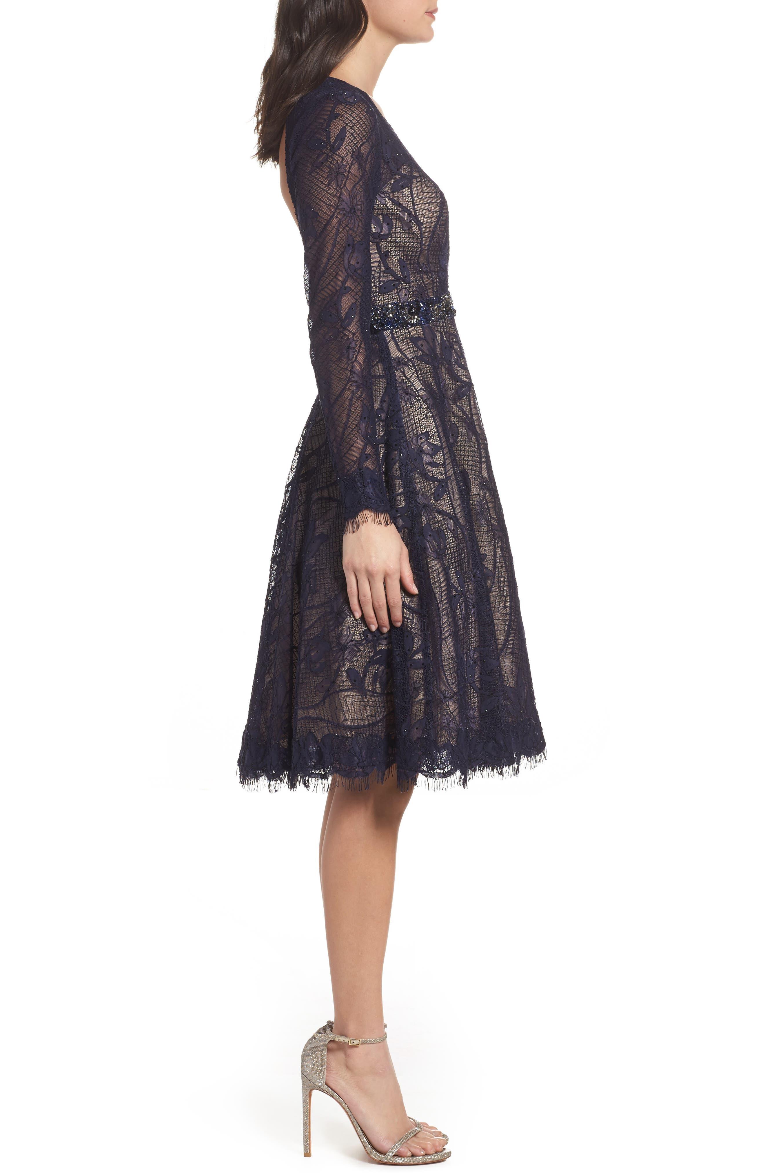 Open Back Lace A-Line Dress,                             Alternate thumbnail 3, color,                             405
