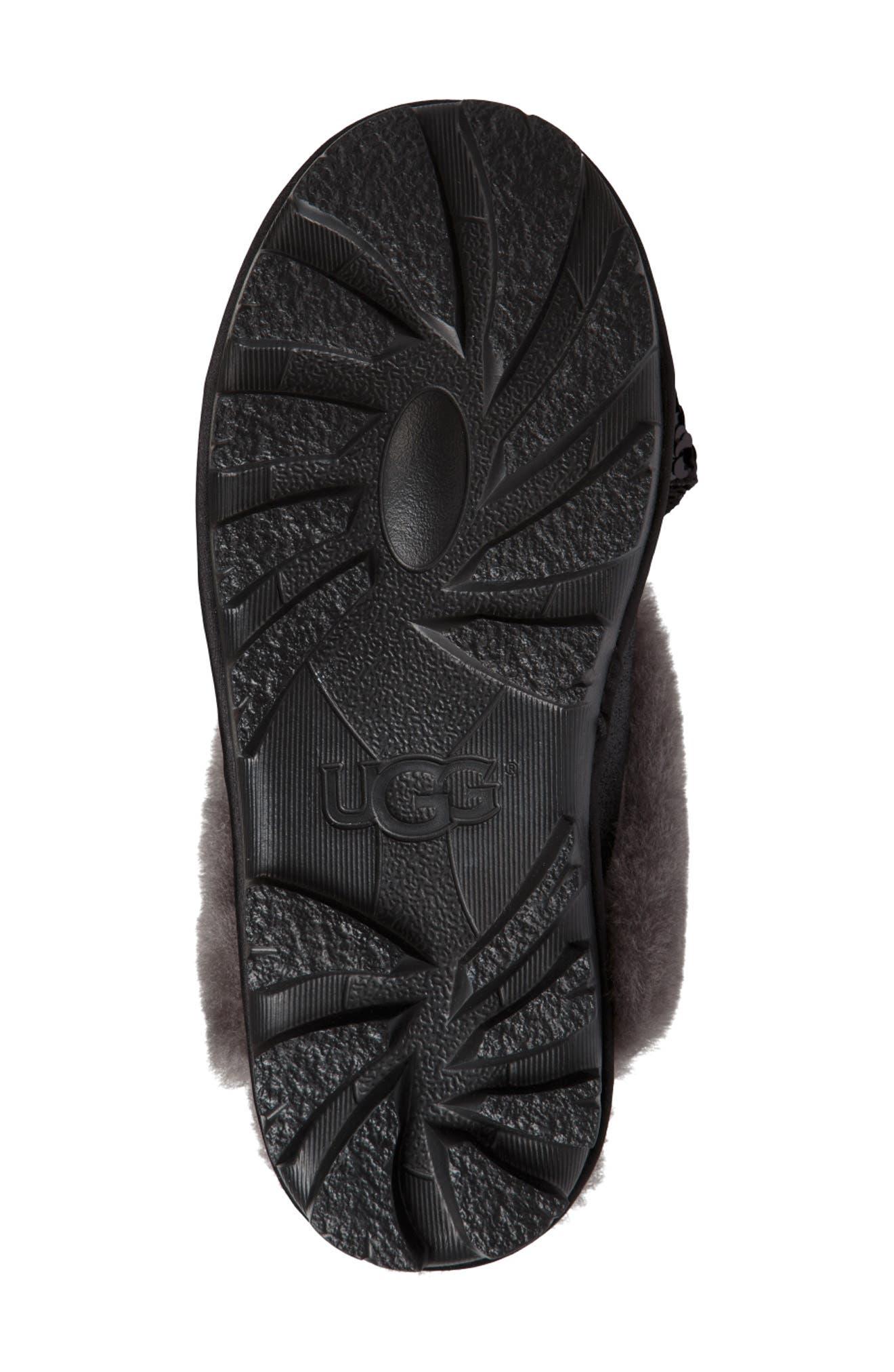 Genuine Shearling & Sequin Bow Slipper,                             Alternate thumbnail 5, color,                             BLACK