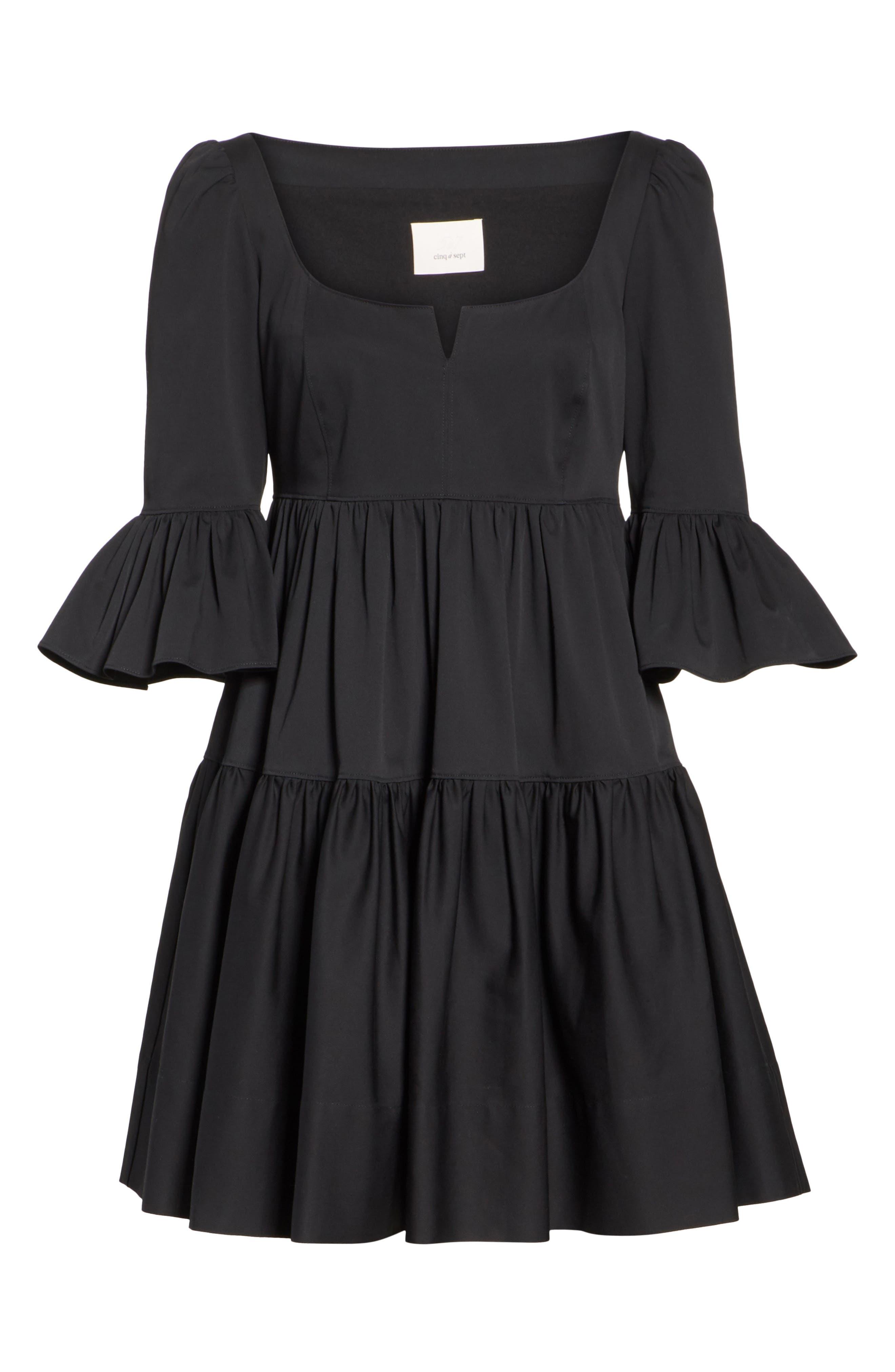 Anya Stretch Poplin Dress,                             Alternate thumbnail 6, color,                             001