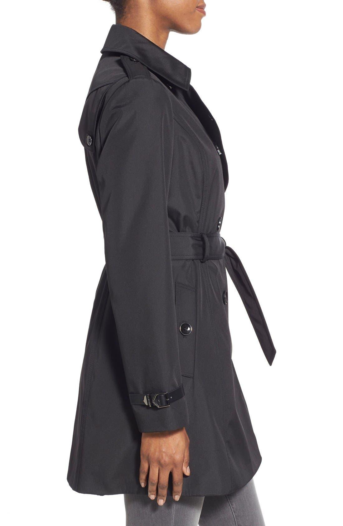 Faux Leather Trim Trench Coat,                             Alternate thumbnail 3, color,                             001