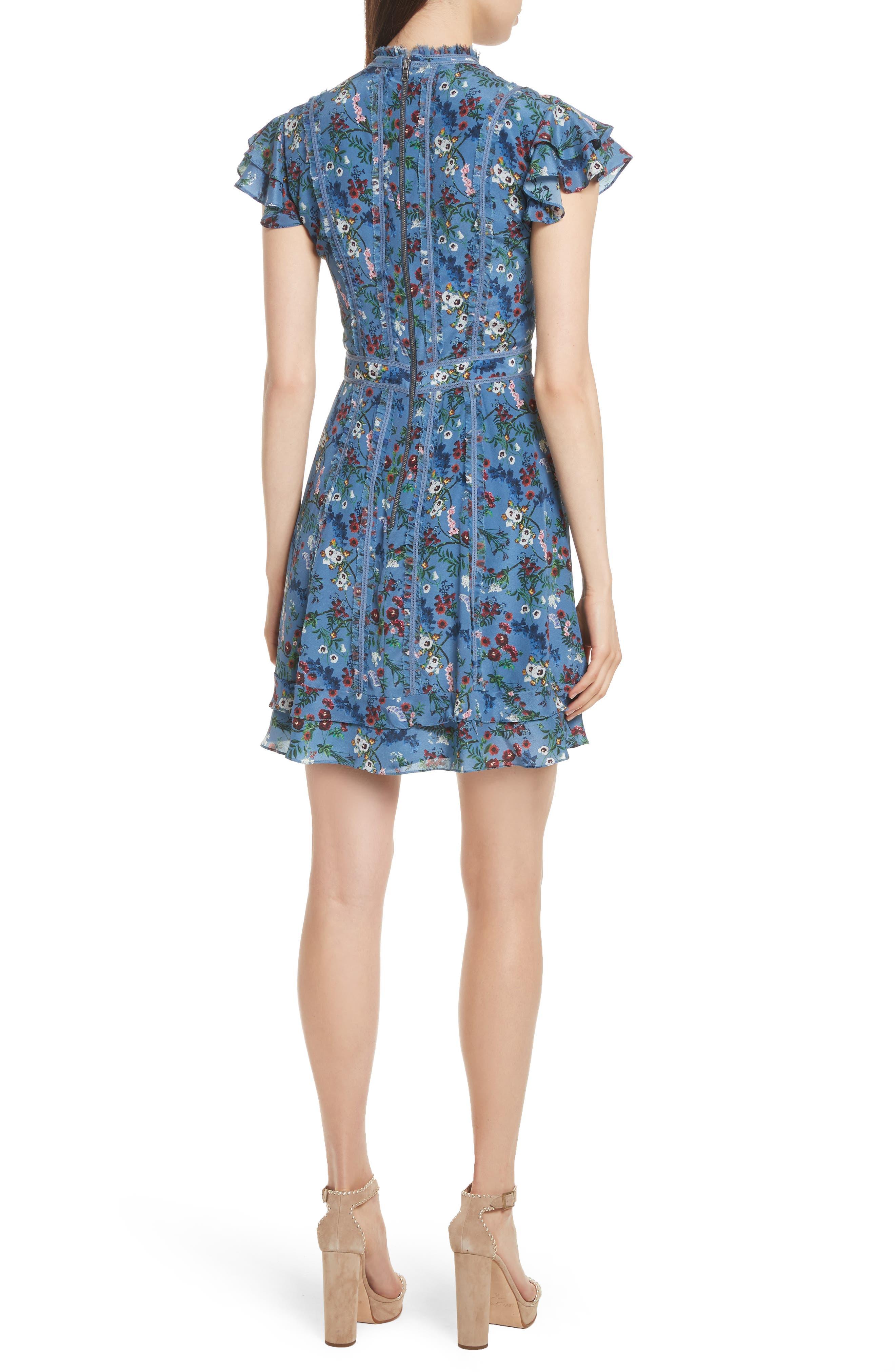 Marta High Neck Floral Silk Dress,                             Alternate thumbnail 2, color,                             486