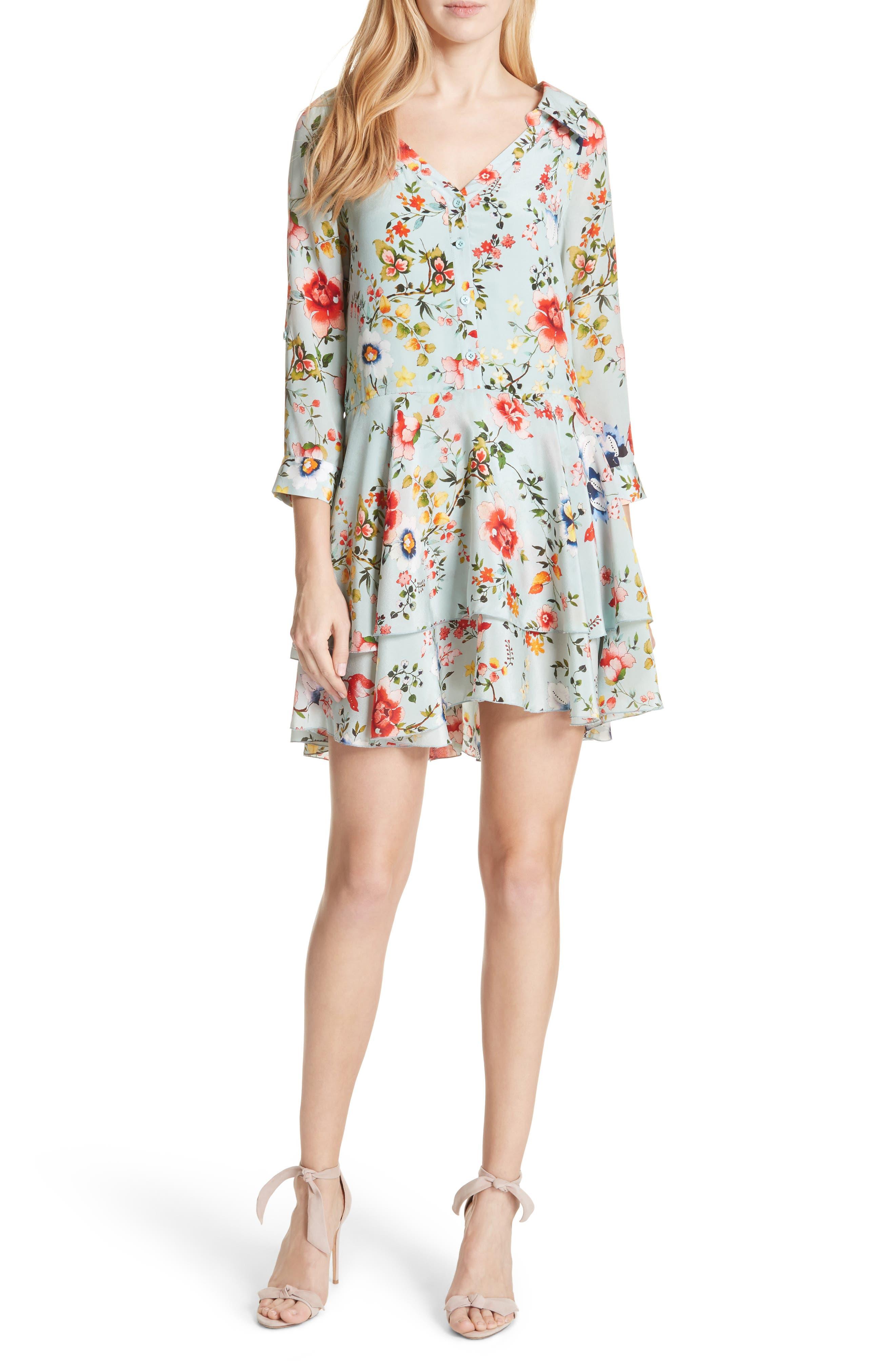 Moore Floral Silk Tunic Dress,                             Main thumbnail 1, color,