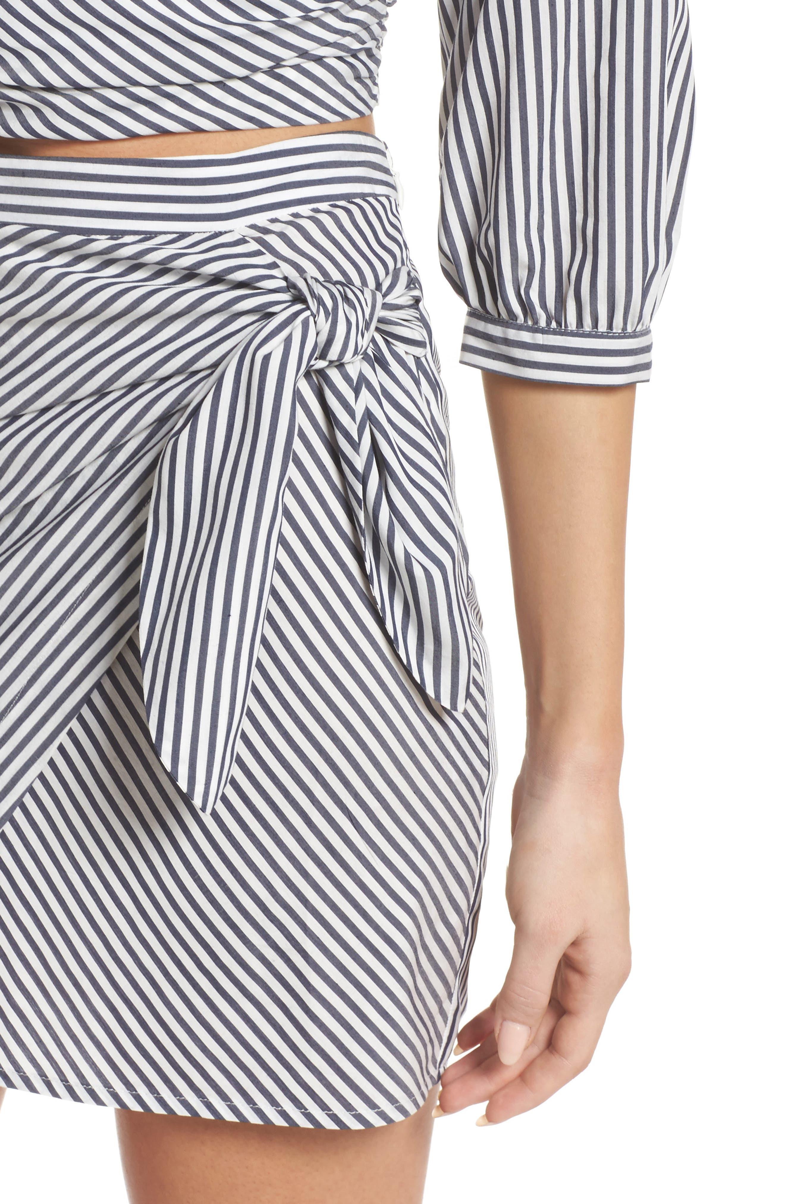 Cocktails Please Stripe Two-Piece Dress,                             Alternate thumbnail 4, color,                             100