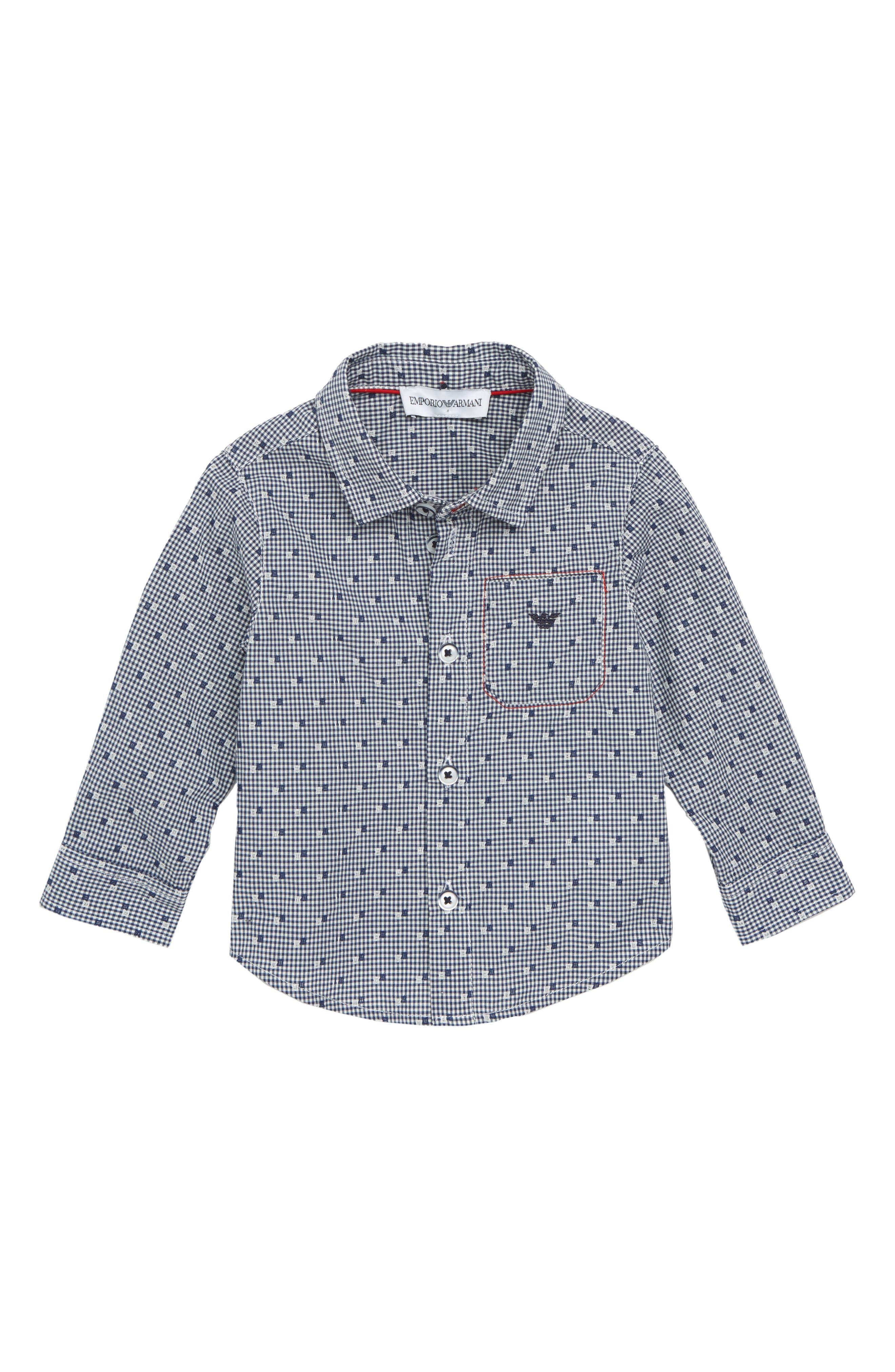 ARMANI JUNIOR,                             Micro Dot Shirt,                             Main thumbnail 1, color,                             401