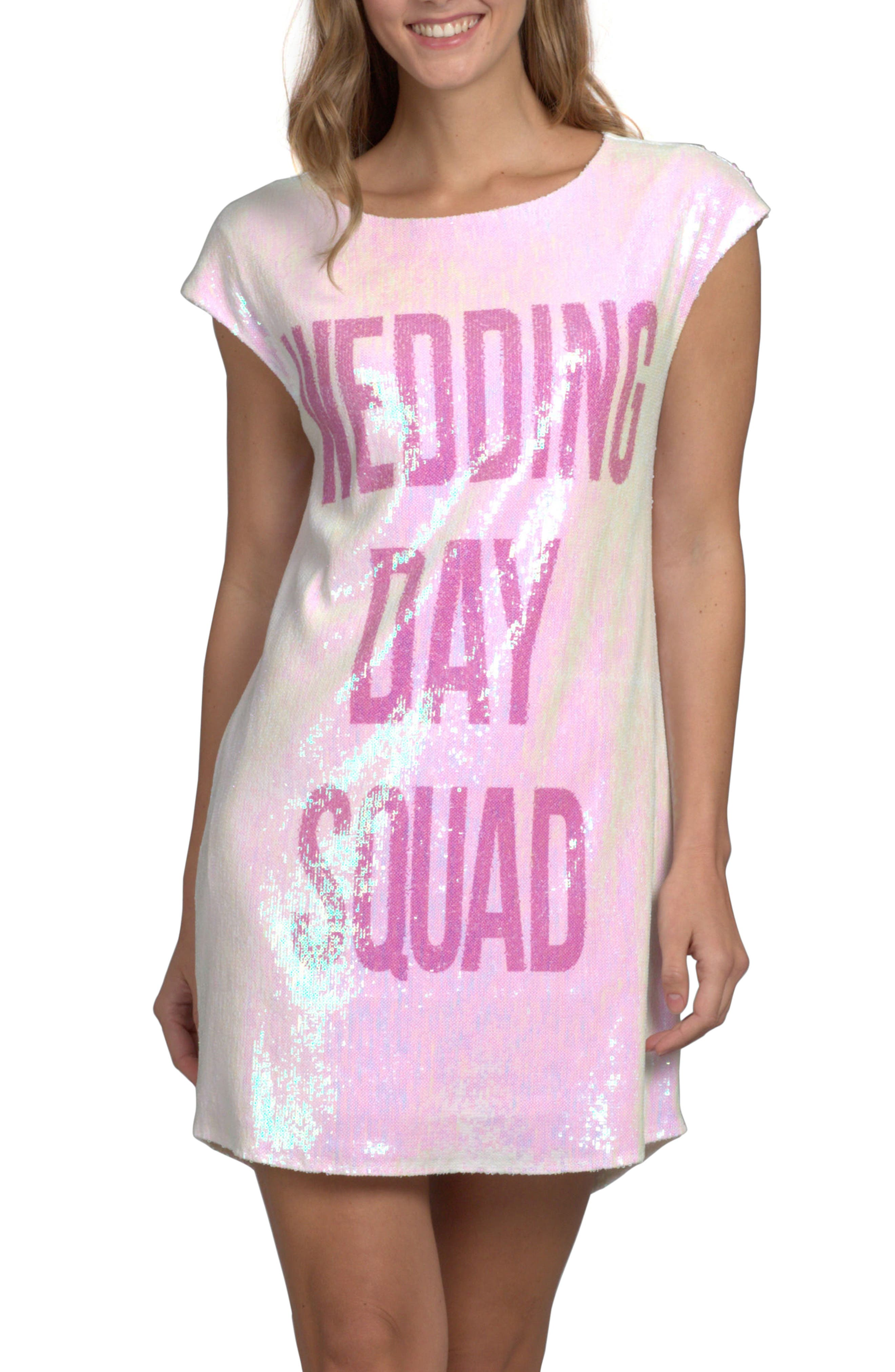 Wedding Day Sparkle Dress,                             Main thumbnail 1, color,                             WEDDING DAY SQUAD