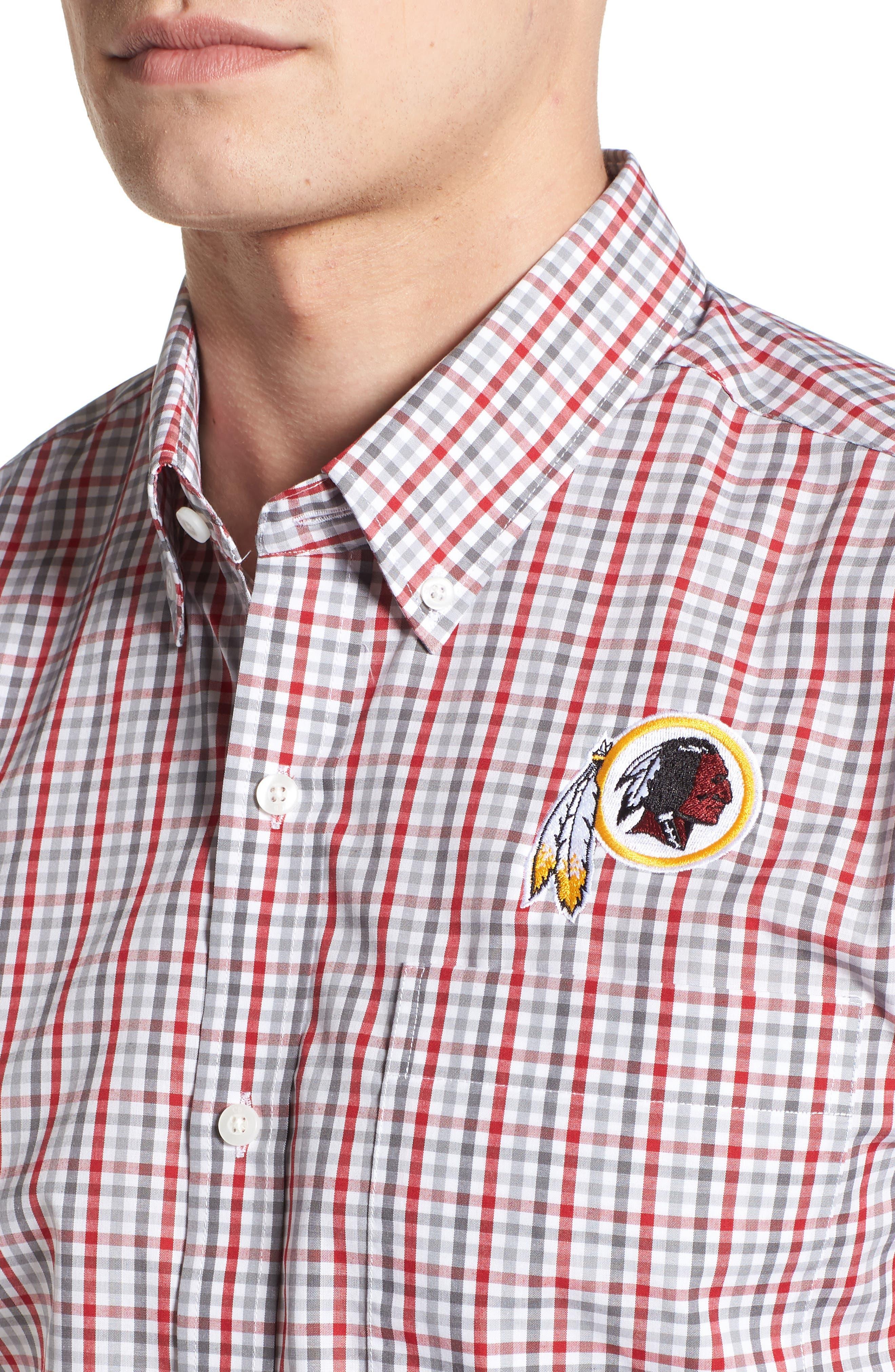 Washington - Gilman Regular Fit Plaid Sport Shirt,                             Alternate thumbnail 4, color,                             CARDINAL RED