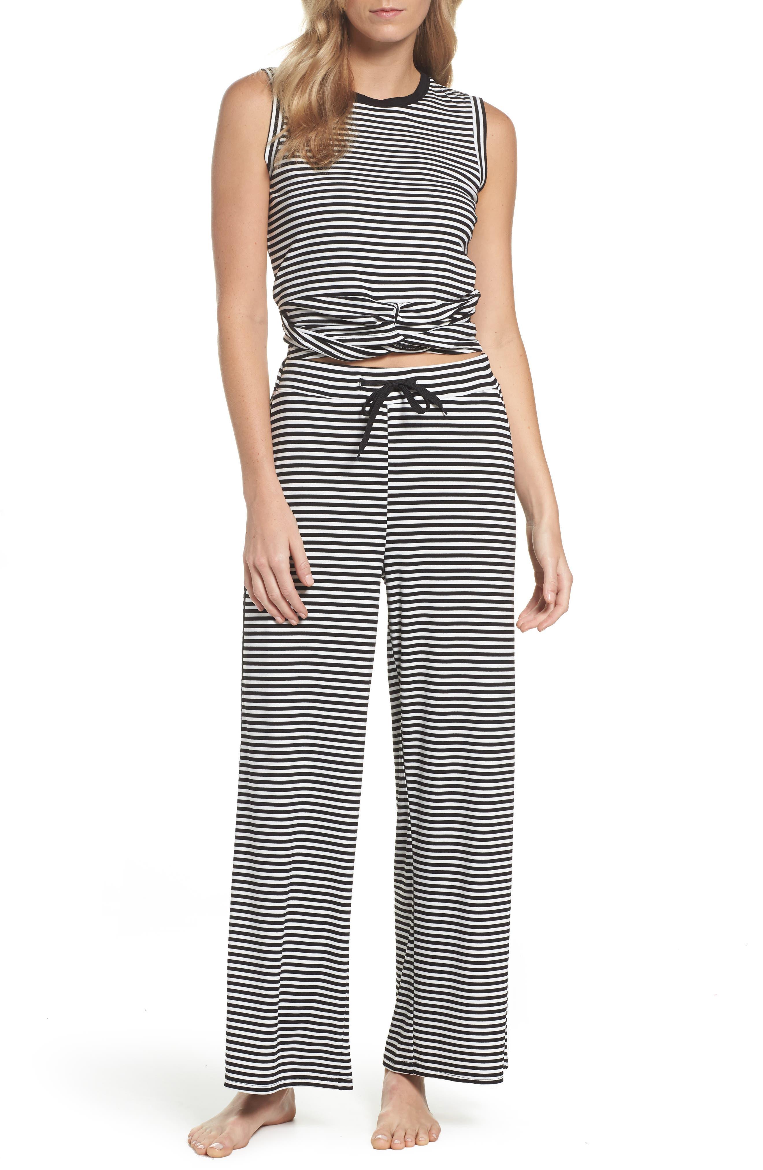Stripe Pajamas,                             Main thumbnail 1, color,                             BLACK/ WHITE