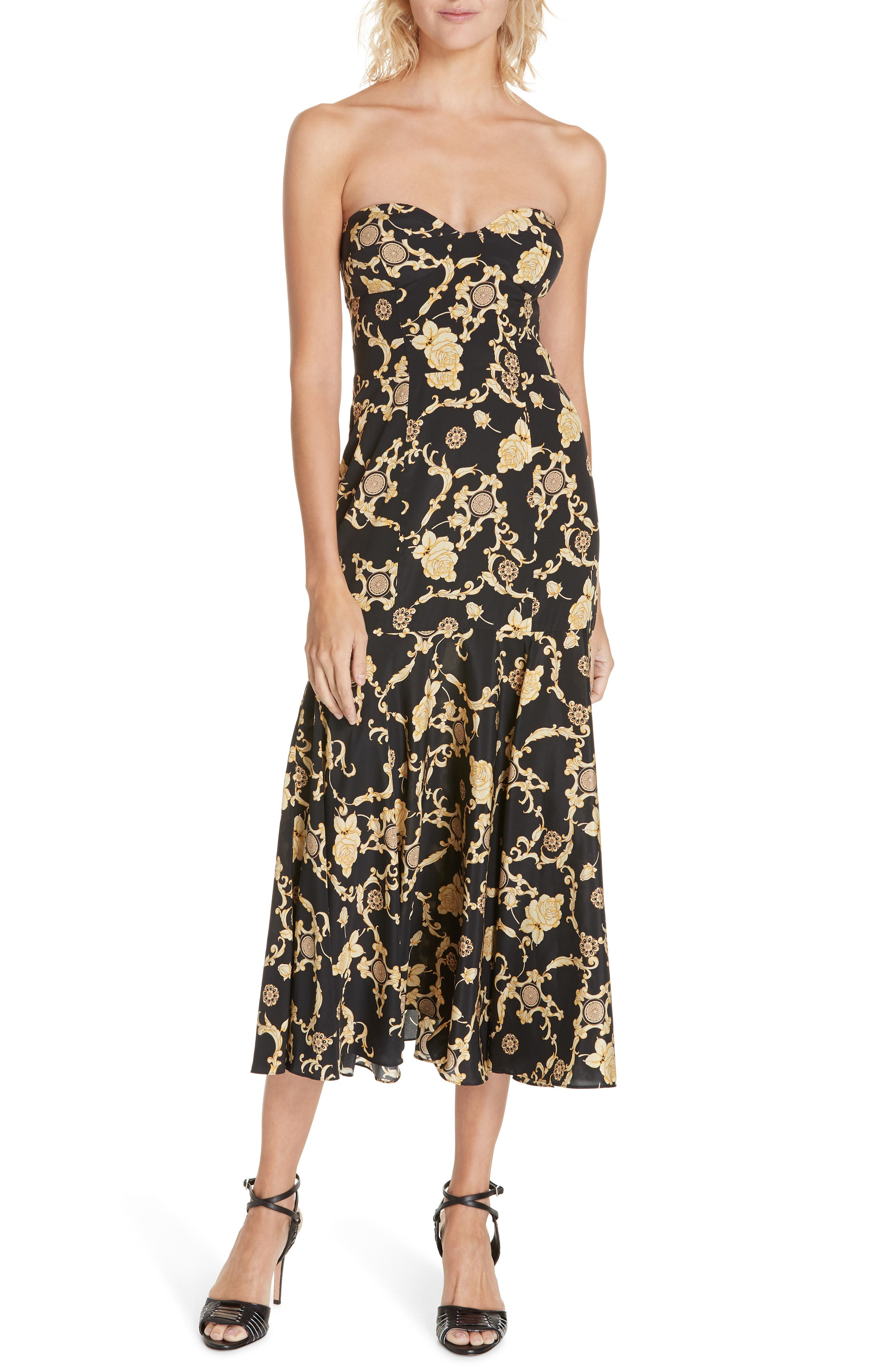 Annika Floral Print Strapless Stretch Silk Dress,                             Main thumbnail 1, color,                             BLACK/ GOLD