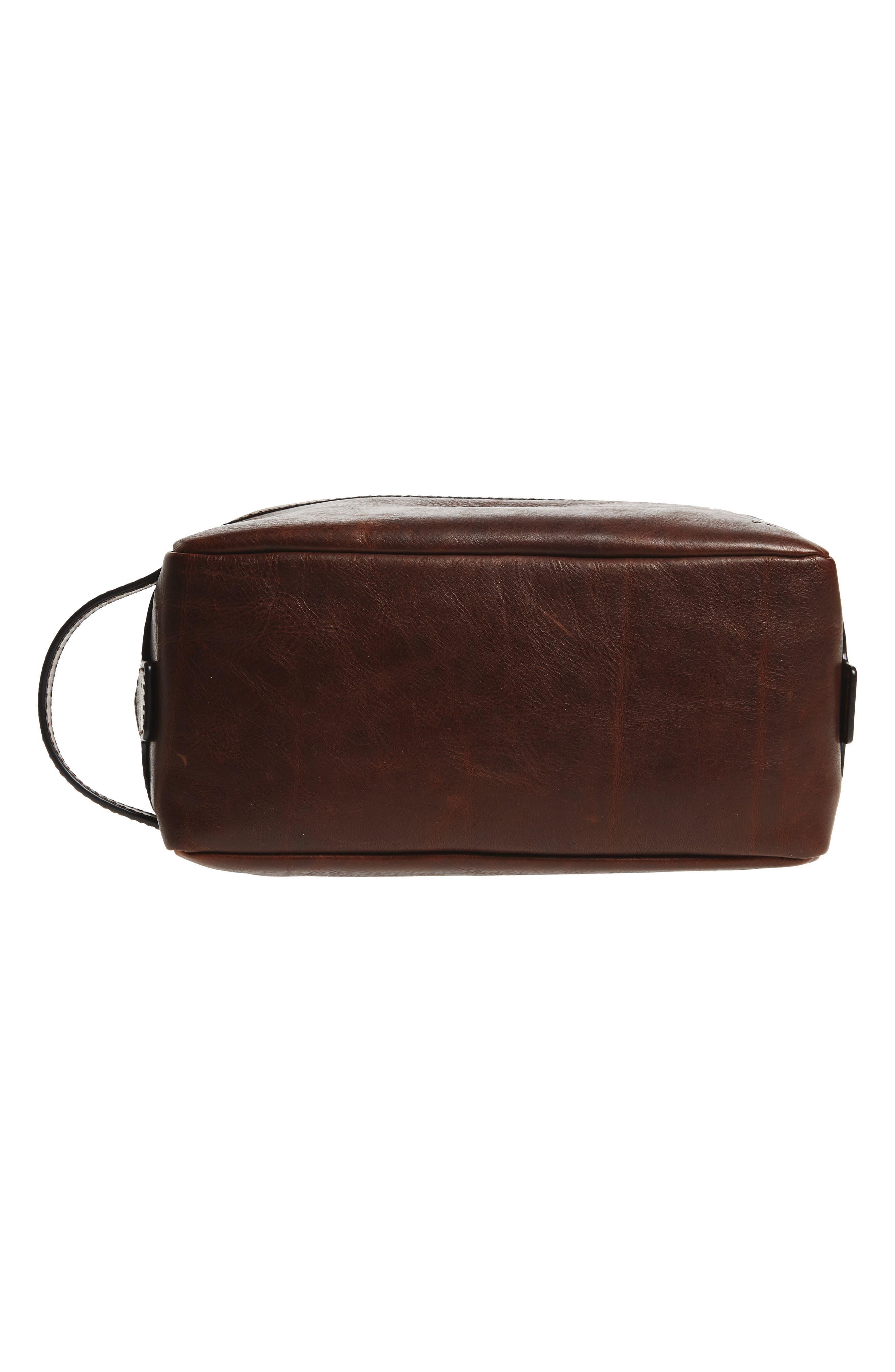 'Logan' Leather Travel Kit,                             Alternate thumbnail 5, color,                             DARK BROWN