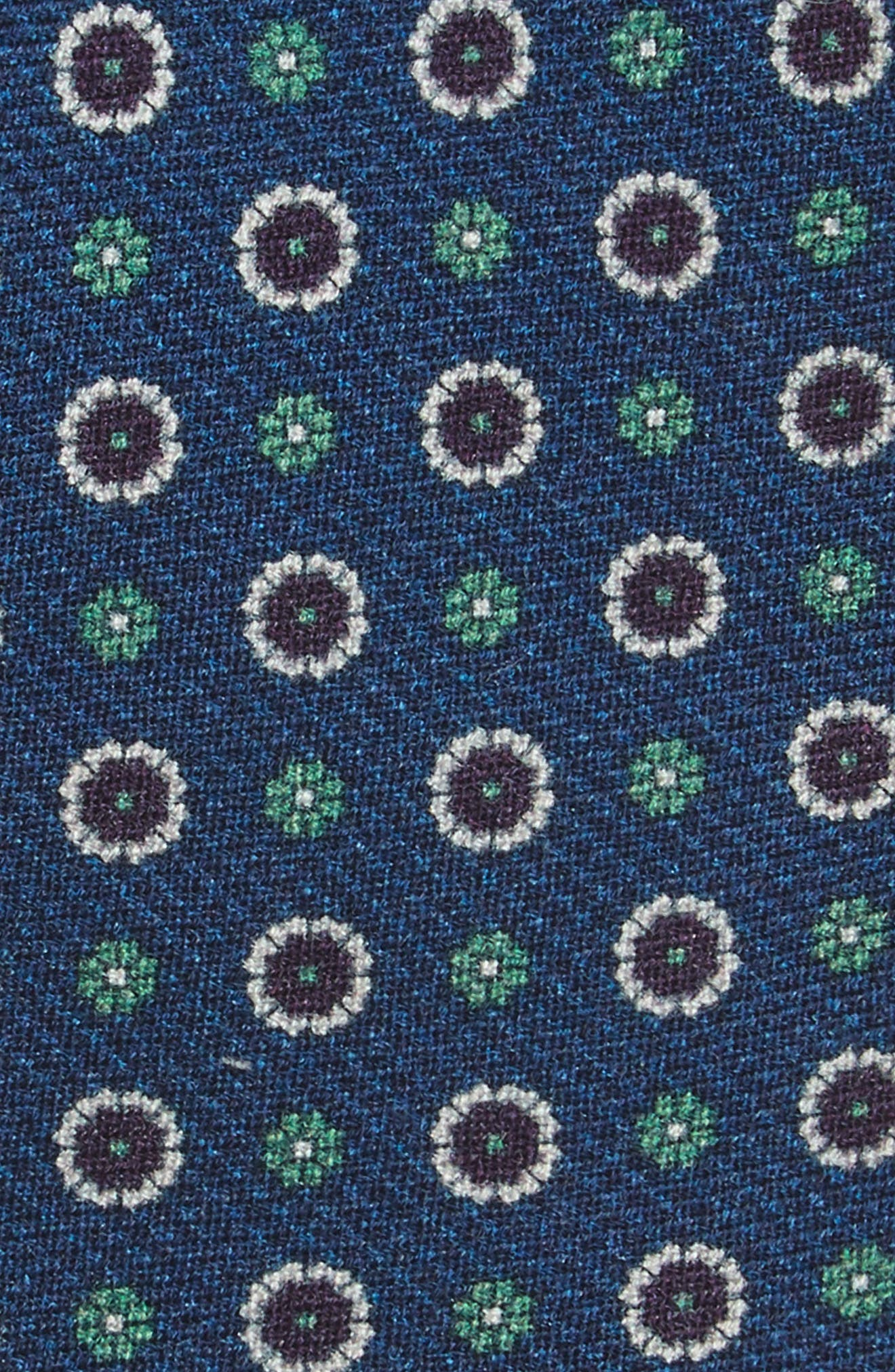 Floral Medallion Wool Tie,                             Alternate thumbnail 2, color,                             NAVY