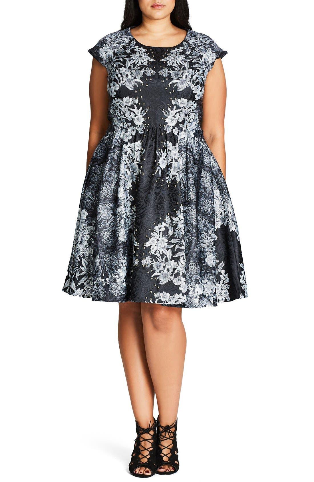 'Femme Royale' Fit & Flare Dress,                             Main thumbnail 2, color,