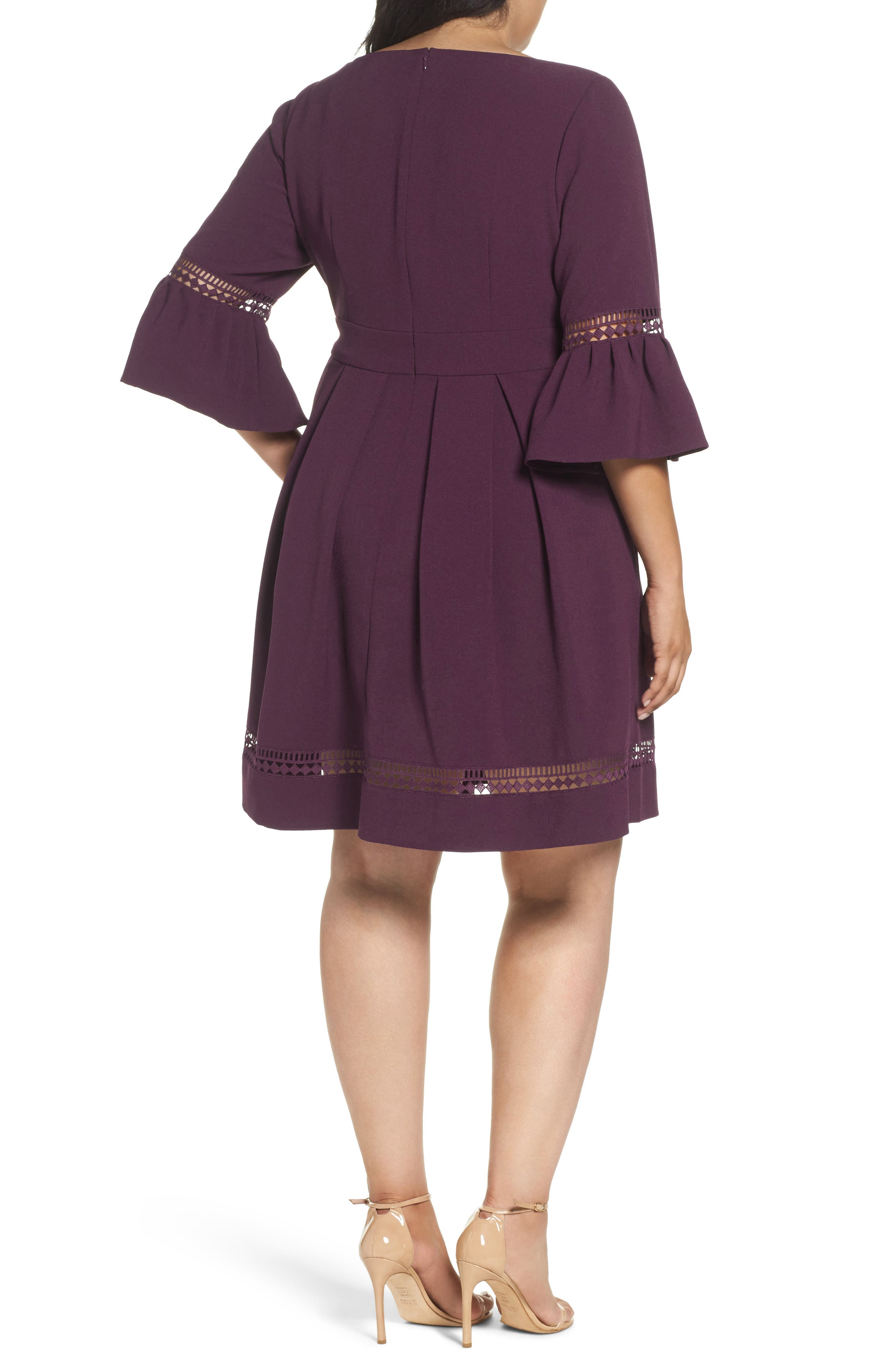 Bell Sleeve Fit & Flare Dress,                             Alternate thumbnail 2, color,                             PURPLE