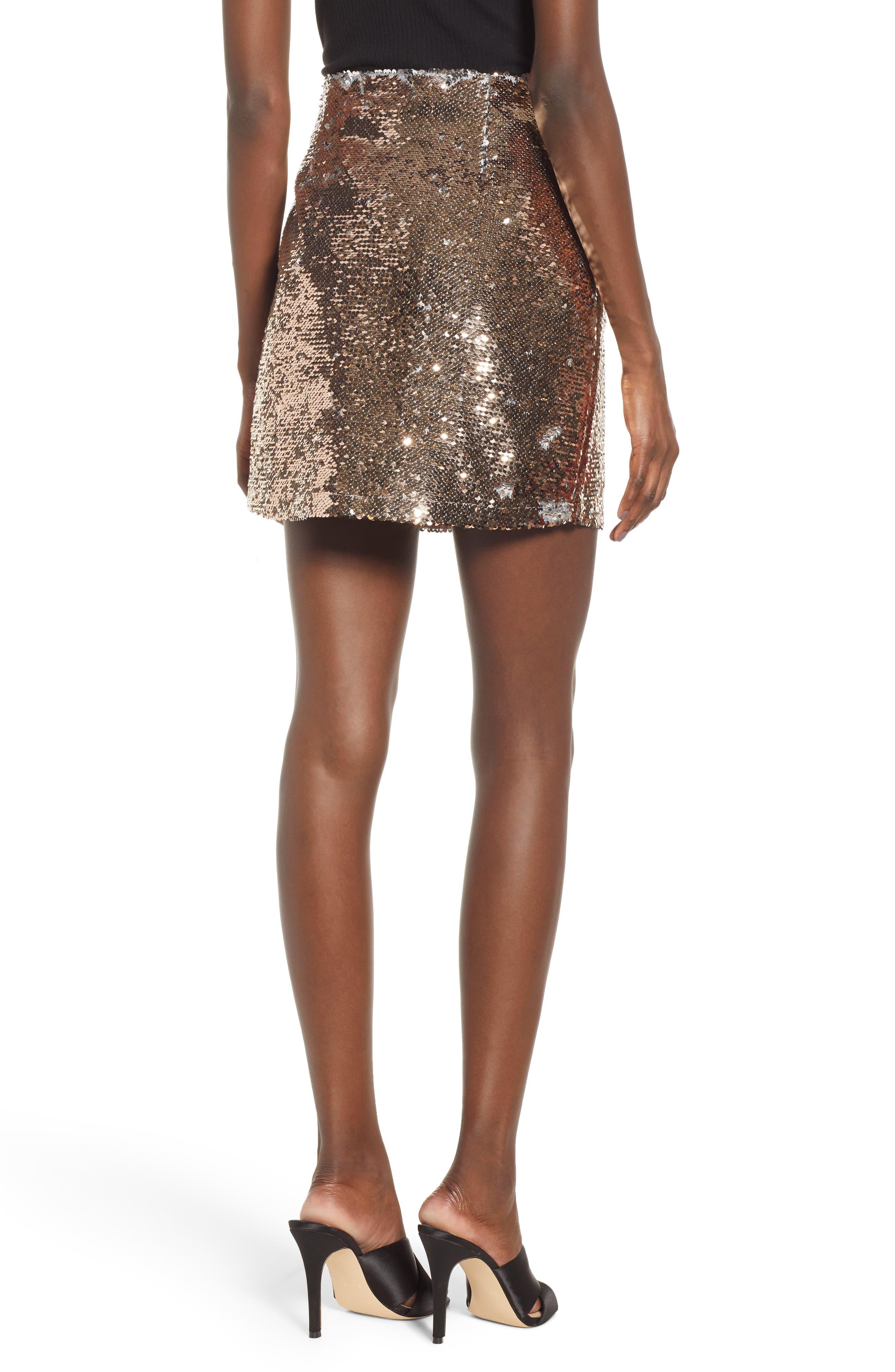 Sequin Miniskirt,                             Alternate thumbnail 2, color,                             ROSE