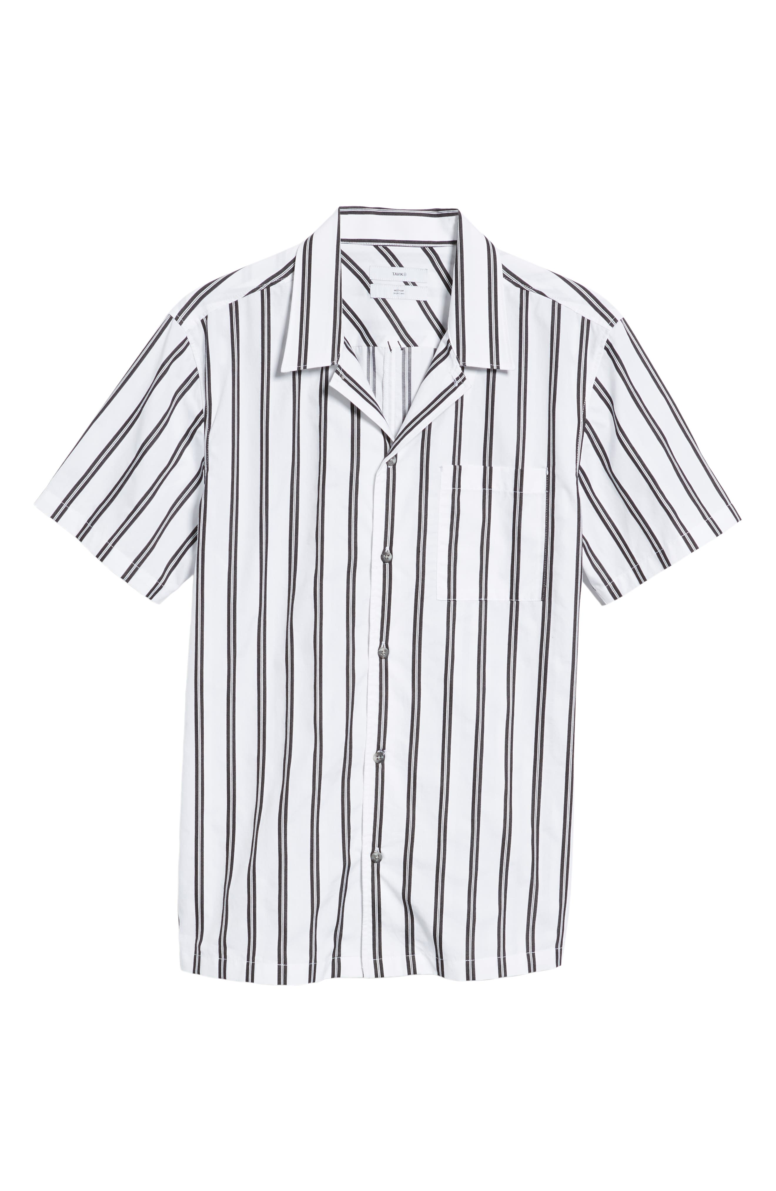 Gable Dobby Stripe Camp Shirt,                             Alternate thumbnail 5, color,                             BLACK STRIPE