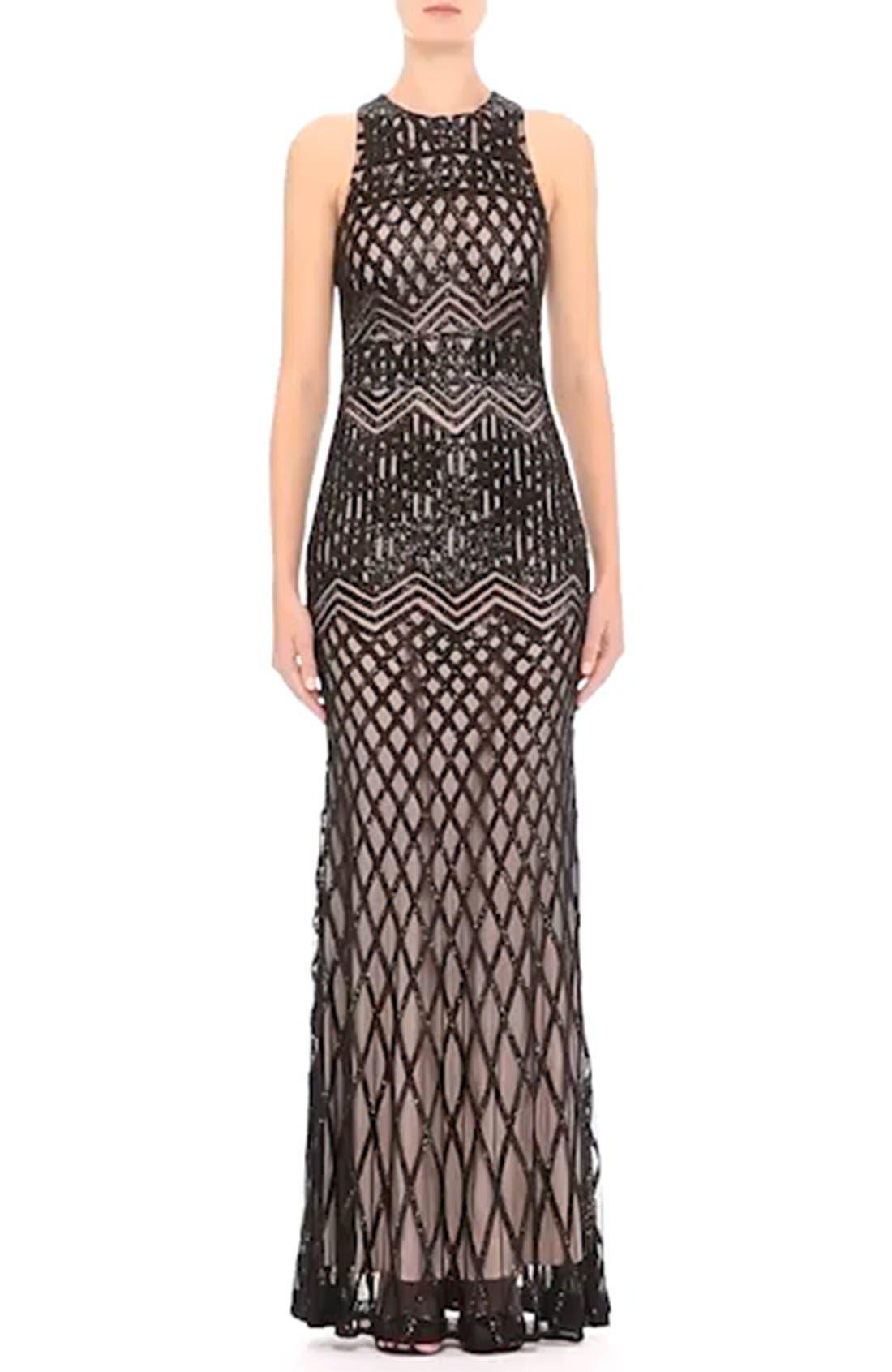 Beaded High Neck Mermaid Gown,                             Alternate thumbnail 2, color,                             001