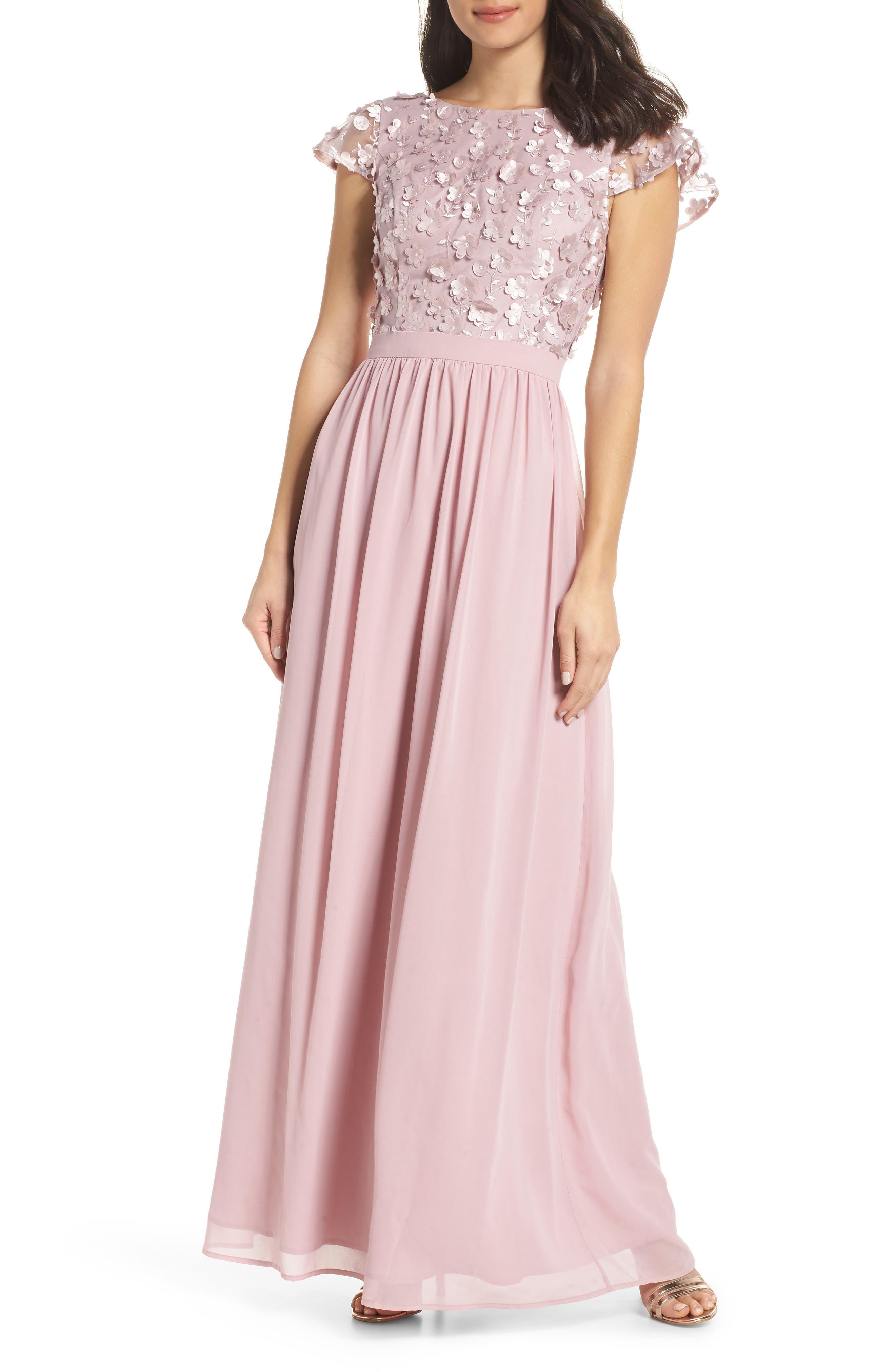 3D Flower Gown, Main, color, MINK