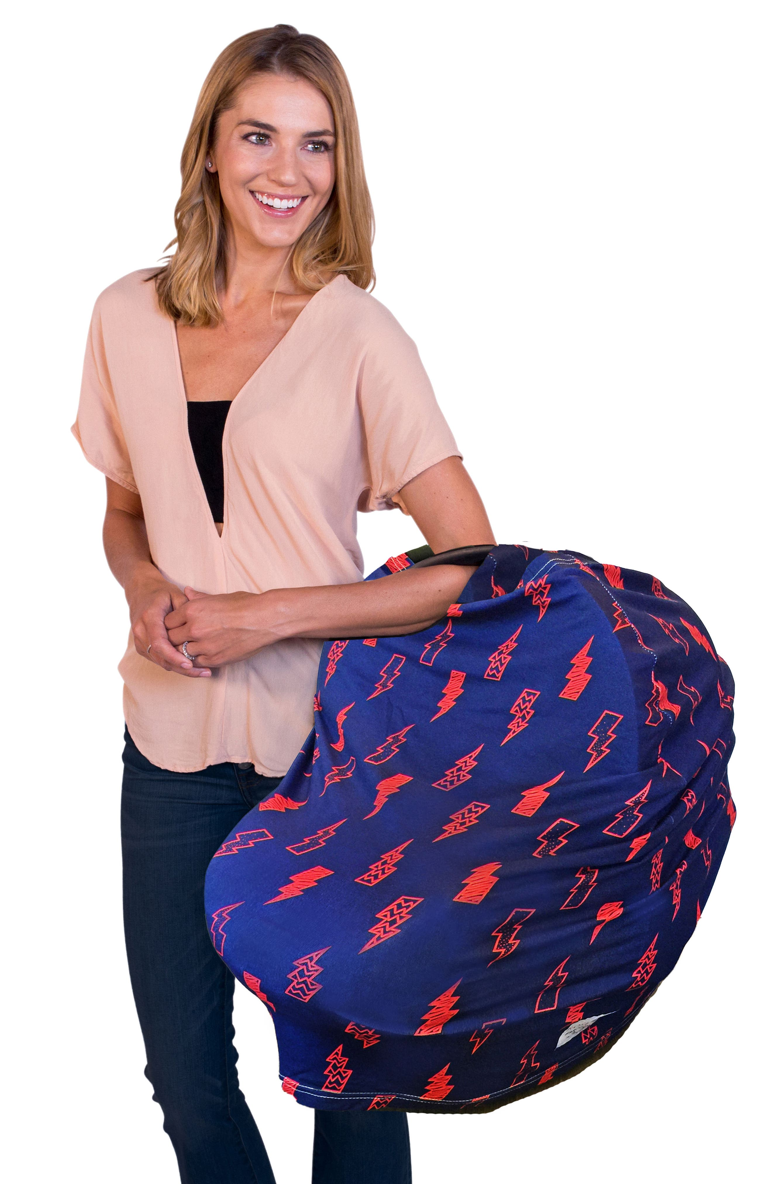 5-in-1 Car Seat Cover,                             Alternate thumbnail 8, color,                             BLUE/ RED LIGHTNING BOLTS