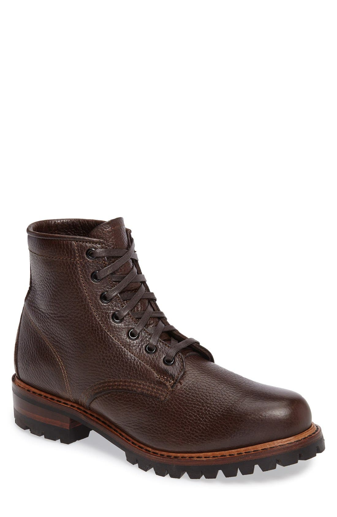 Arkansas Logger Boot,                         Main,                         color, DARK BROWN LEATHER