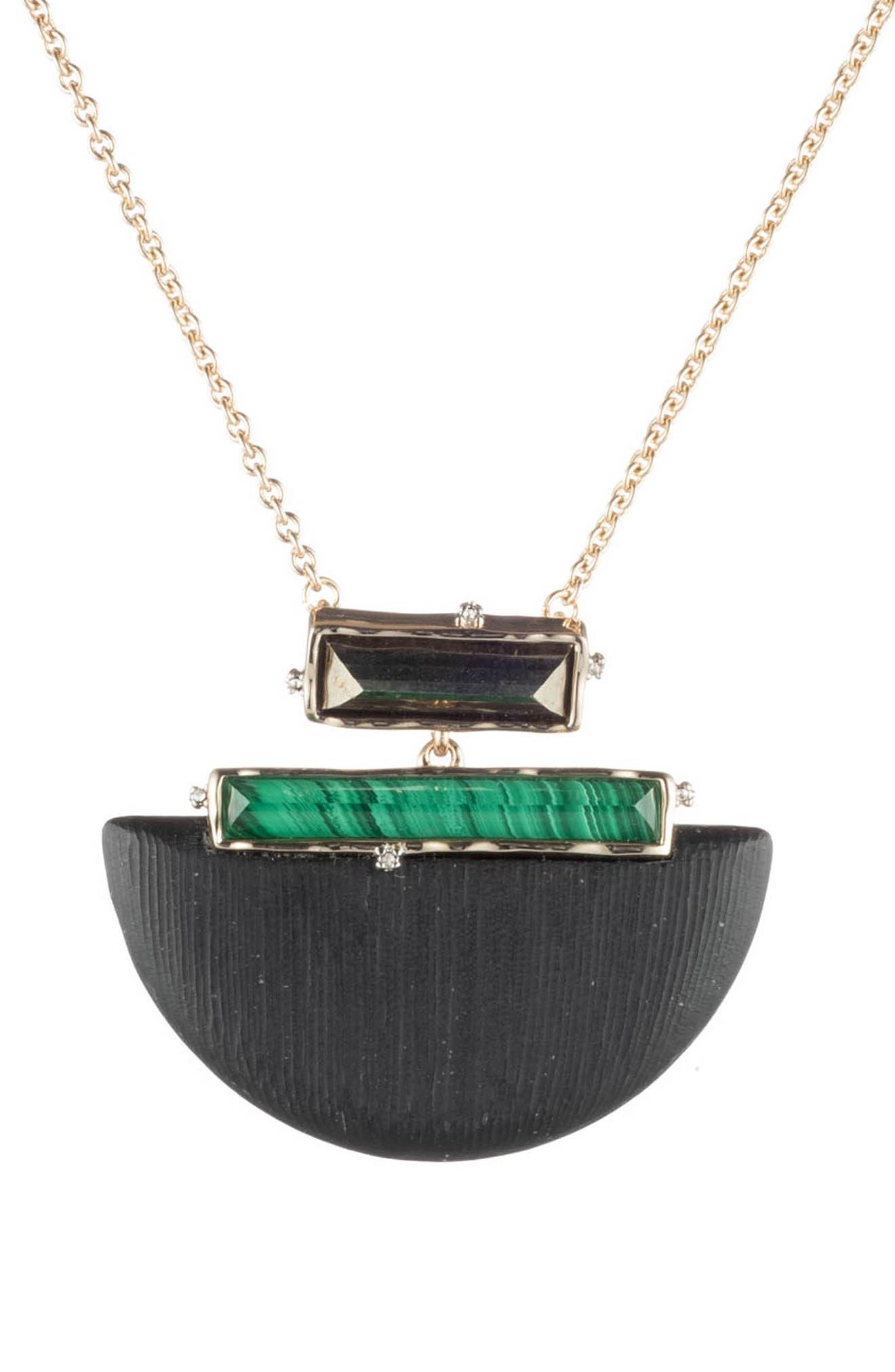 ALEXIS BITTAR,                             Retro Gold Collection Stone Studded Half-Moon Pendant Necklace,                             Main thumbnail 1, color,                             BLACK