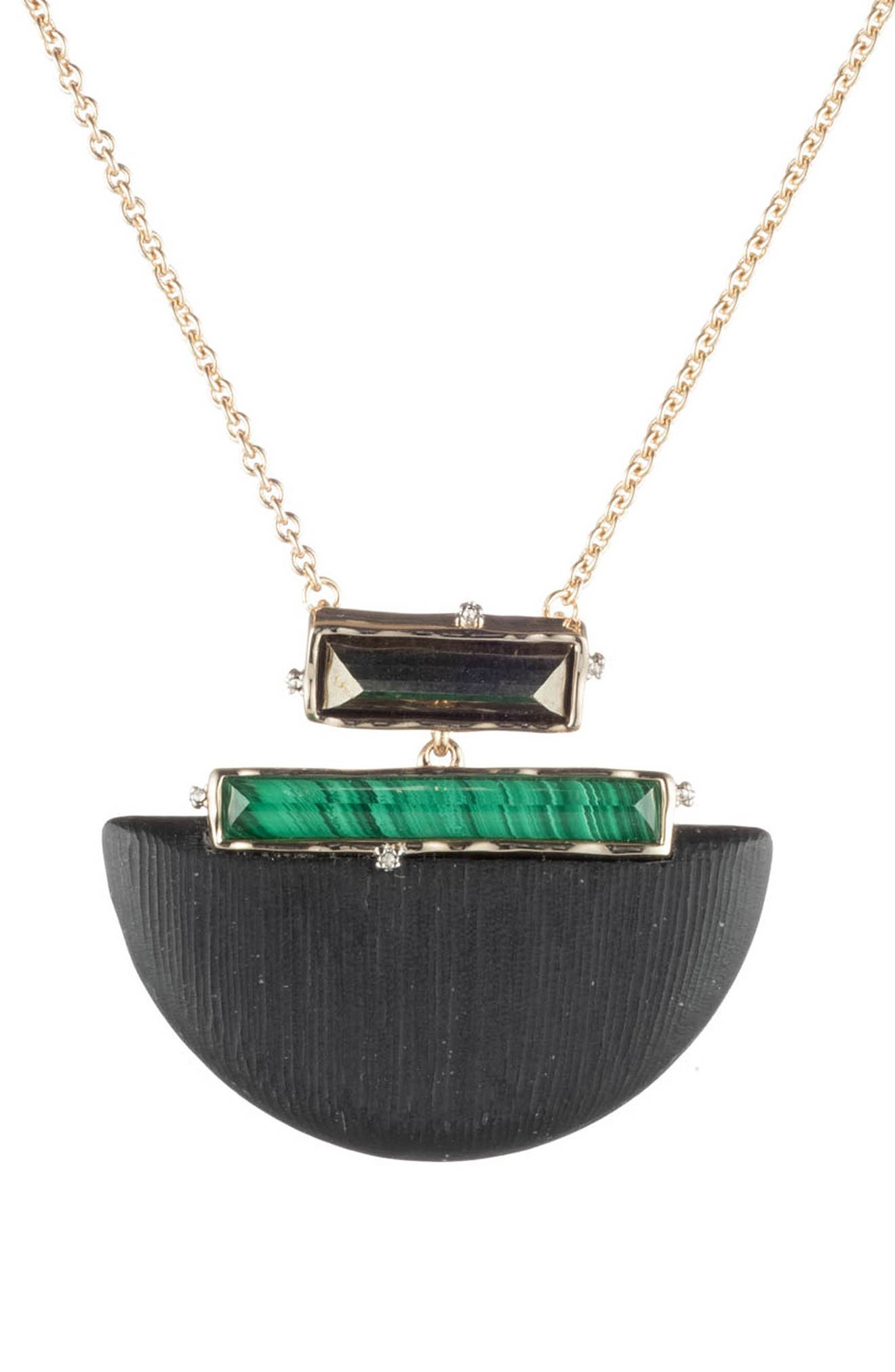 ALEXIS BITTAR Retro Gold Collection Stone Studded Half-Moon Pendant Necklace, Main, color, BLACK