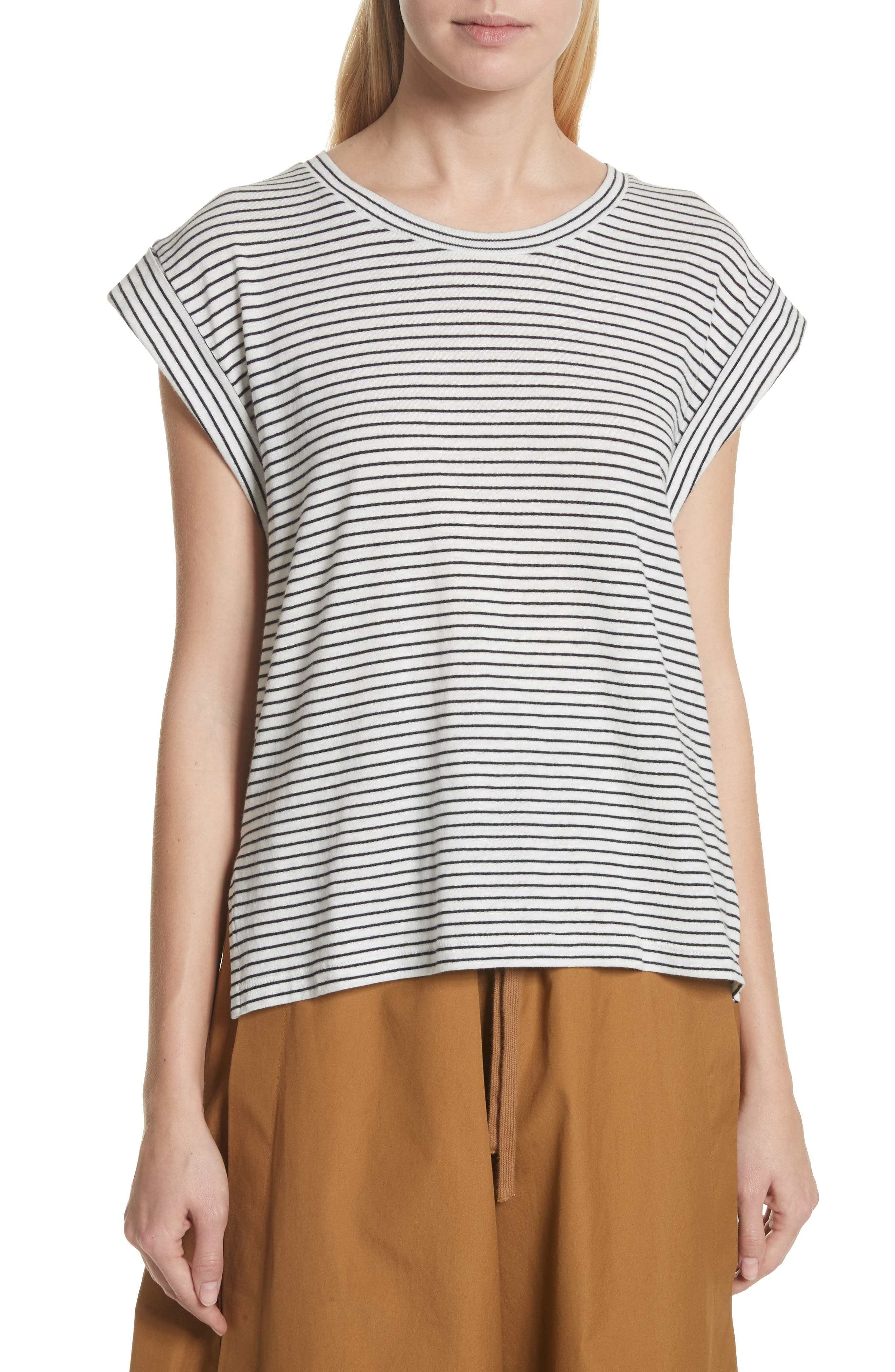 Classic Stripe Rolled Sleeve Cotton Tee,                             Main thumbnail 1, color,                             471