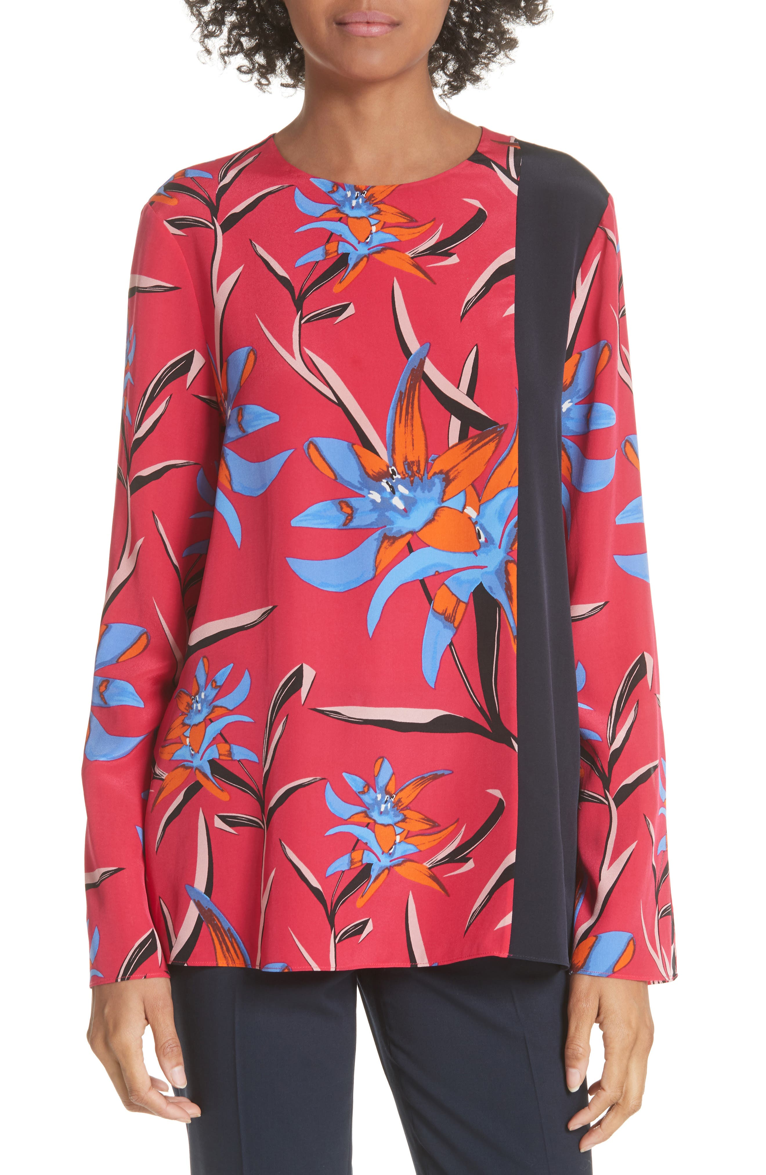 Diane von Furstenberg Side Slit Silk Blouse,                             Main thumbnail 2, color,