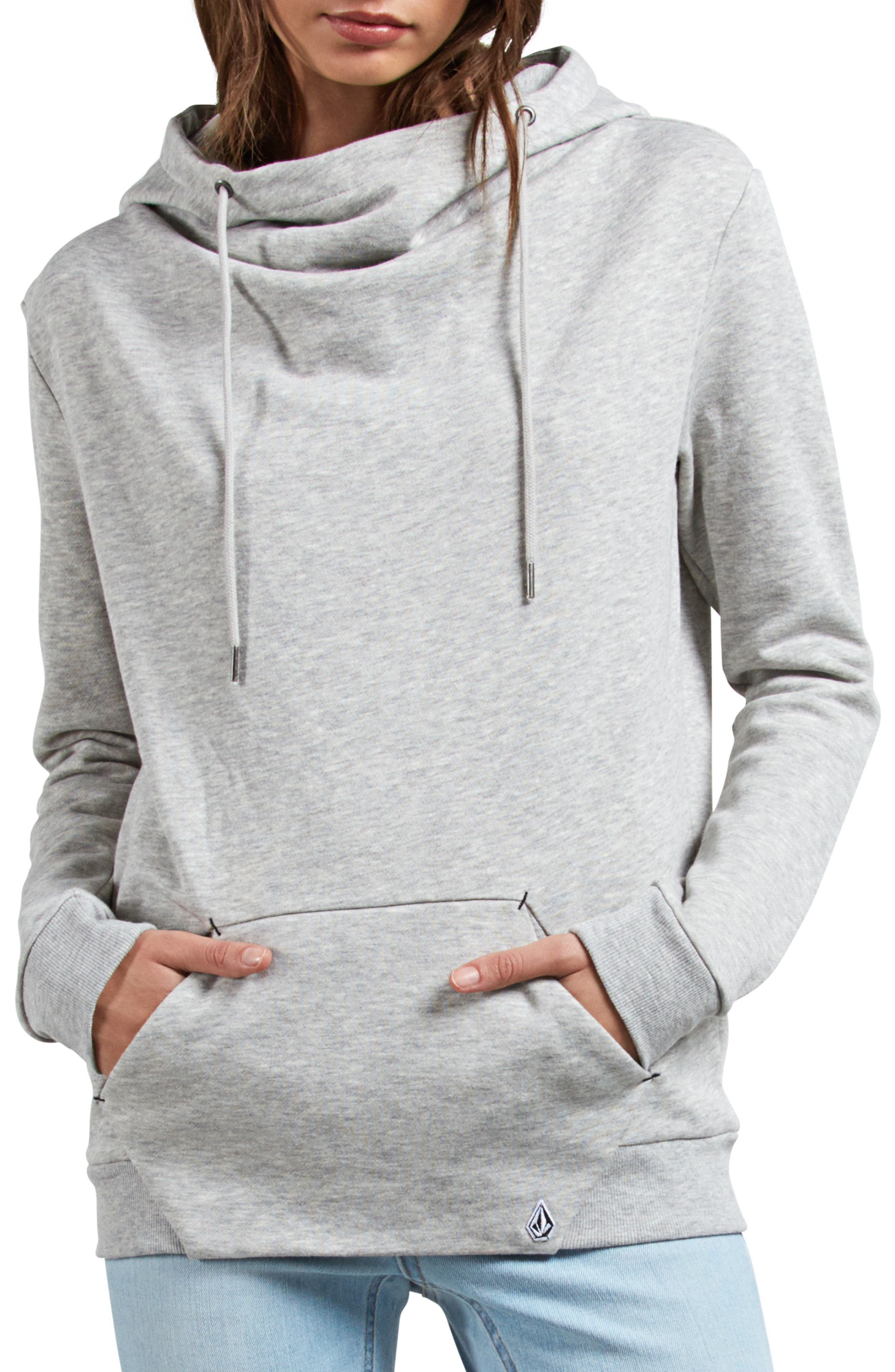 Walk On By Funnel Neck Hoodie,                             Main thumbnail 1, color,                             HEATHER GREY