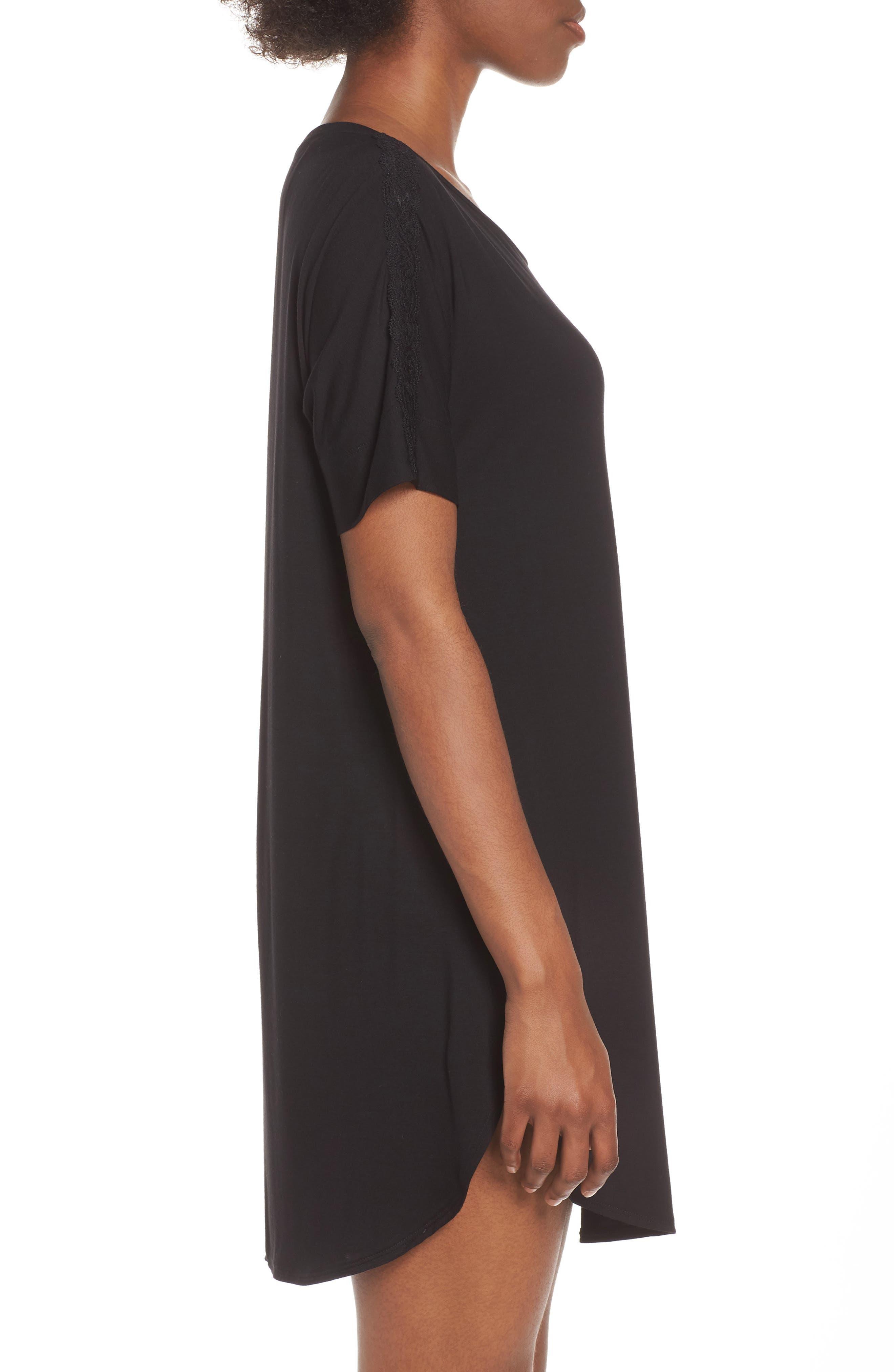 NATORI,                             Feathers Essential Sleep Shirt,                             Alternate thumbnail 3, color,                             BLACK