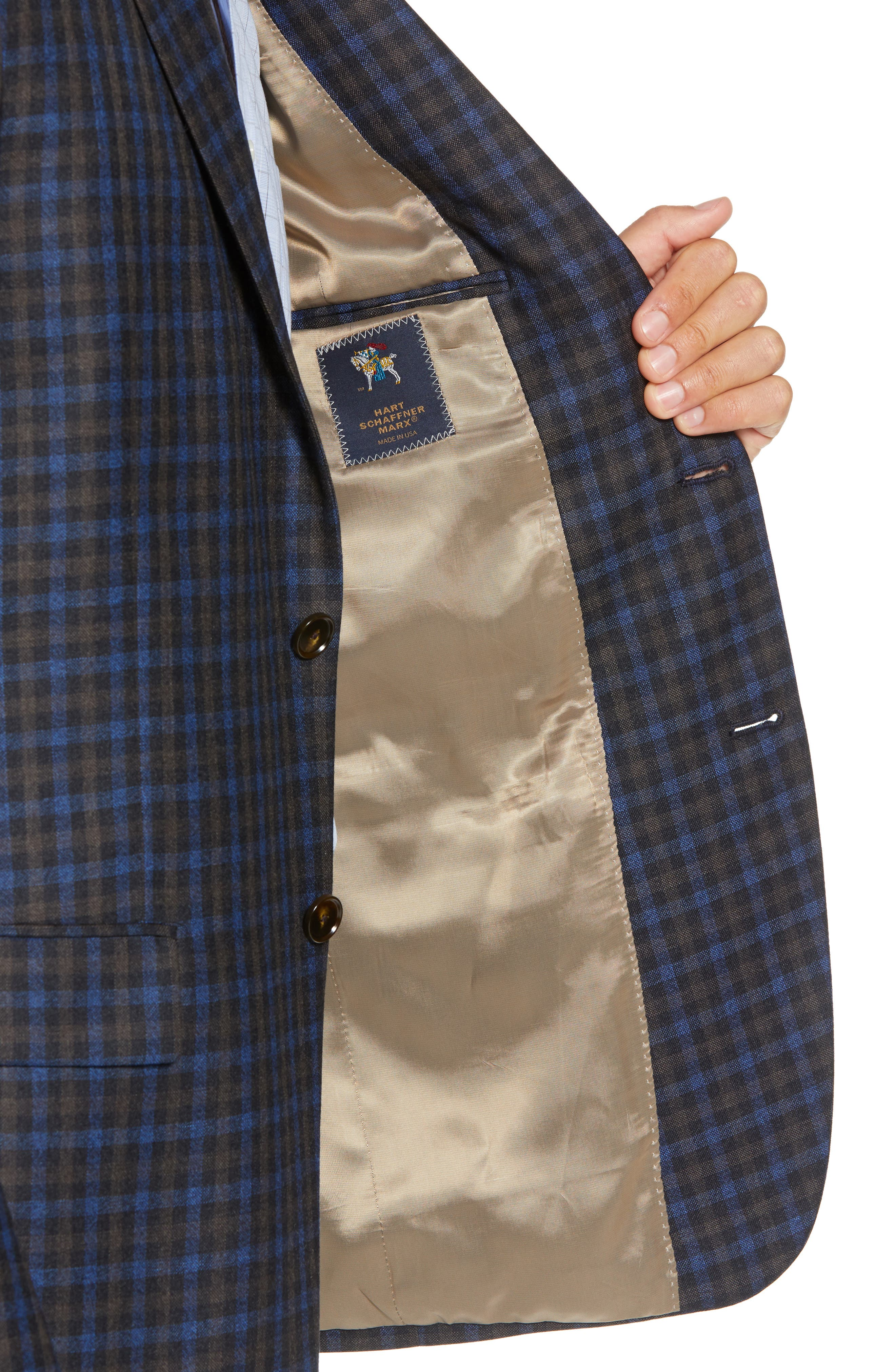 Classic Fit Check Wool Sport Coat,                             Alternate thumbnail 4, color,                             201
