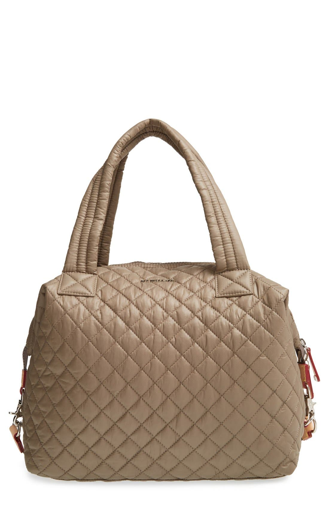 Mz Wallace Bags 'LARGE SUTTON' QUILTED OXFORD NYLON SATCHEL - BEIGE