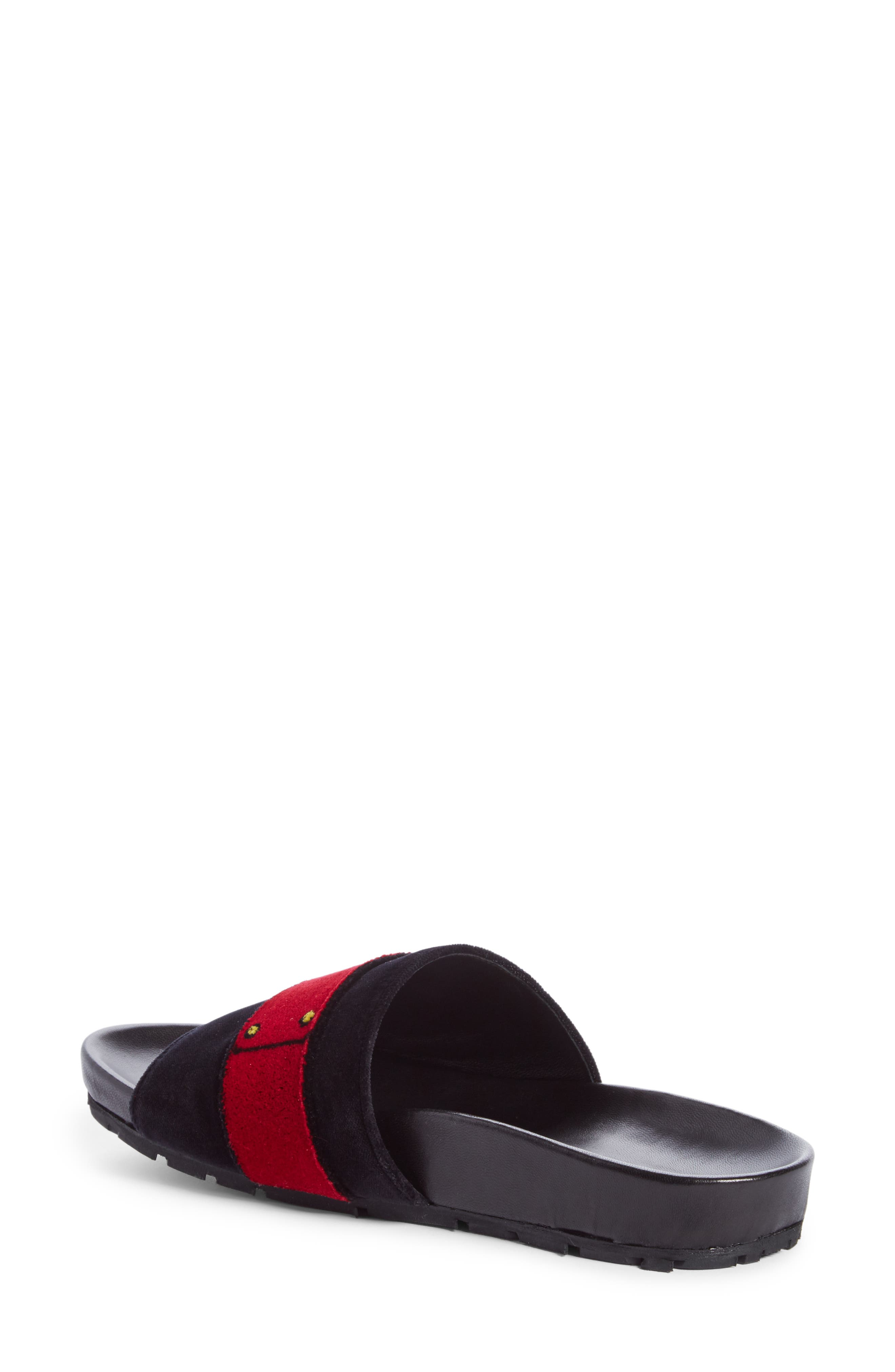 PRADA,                             Logo Slide Sandal,                             Alternate thumbnail 2, color,                             001