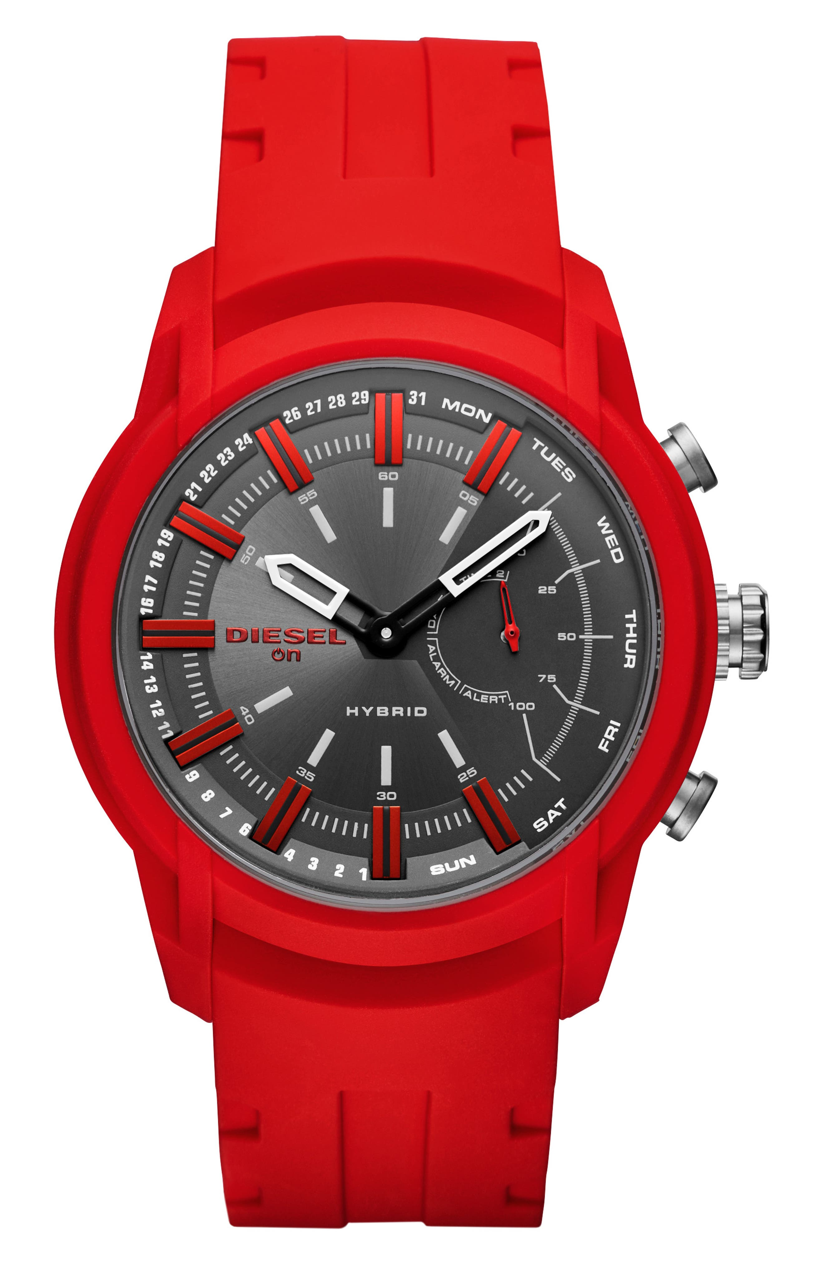 Armbar Hybrid Silicone Strap Smart Watch, 44mm,                             Main thumbnail 1, color,                             BLACK/ RED