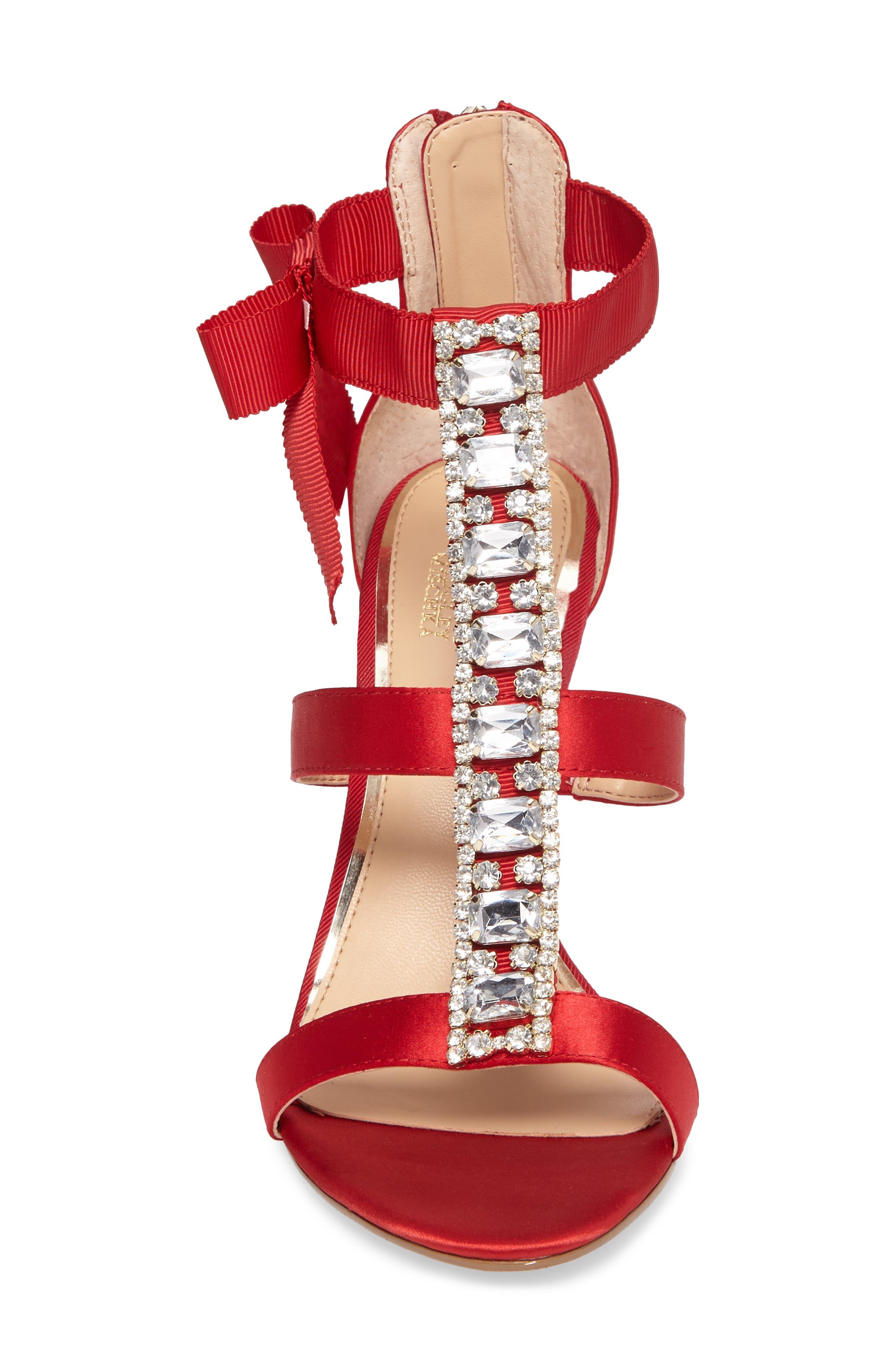 Henderson Embellished Bow Sandal,                             Alternate thumbnail 4, color,                             RED SATIN