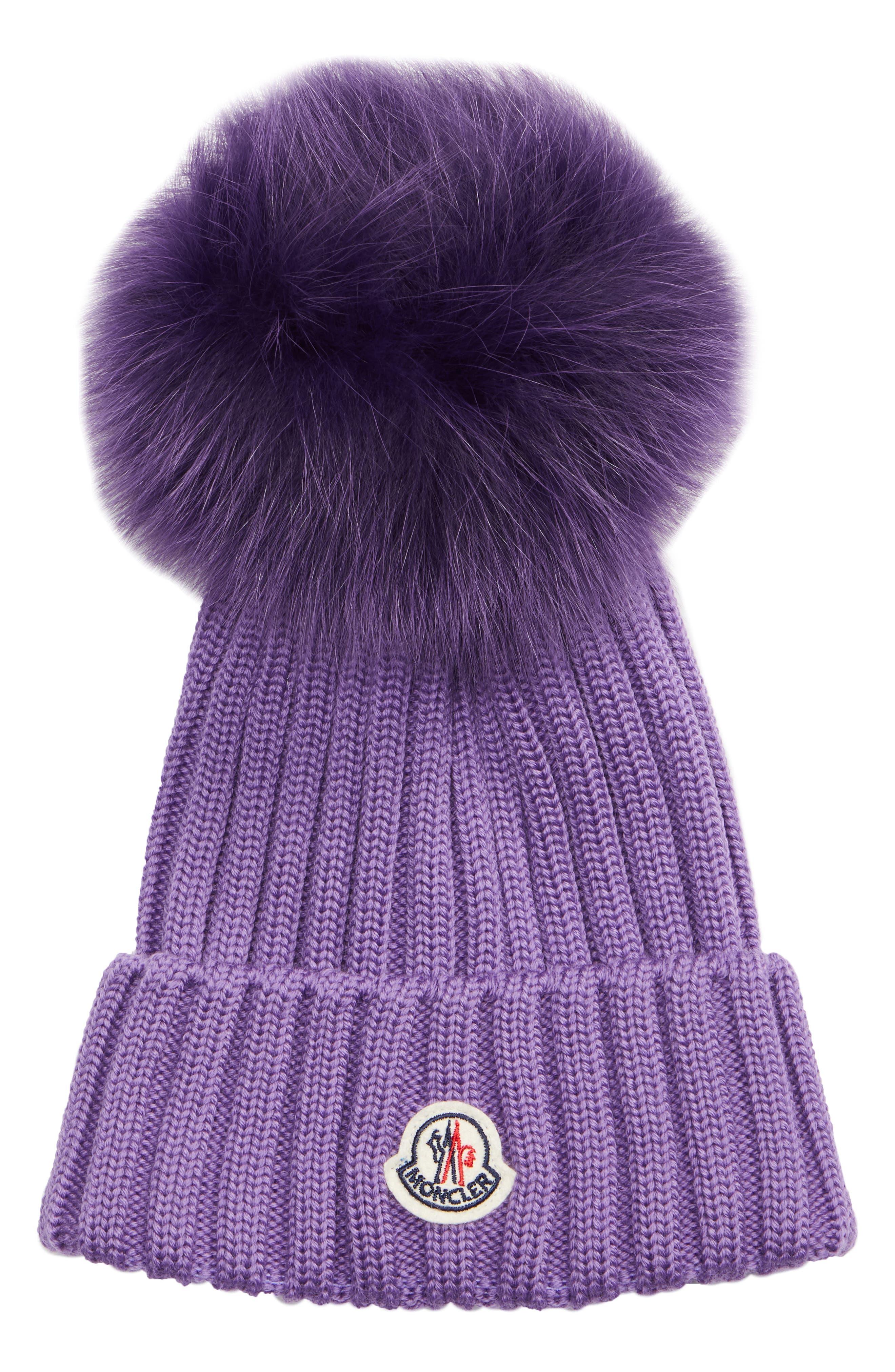Genuine Fox Fur Pom Wool Beanie - Purple in Light Purple