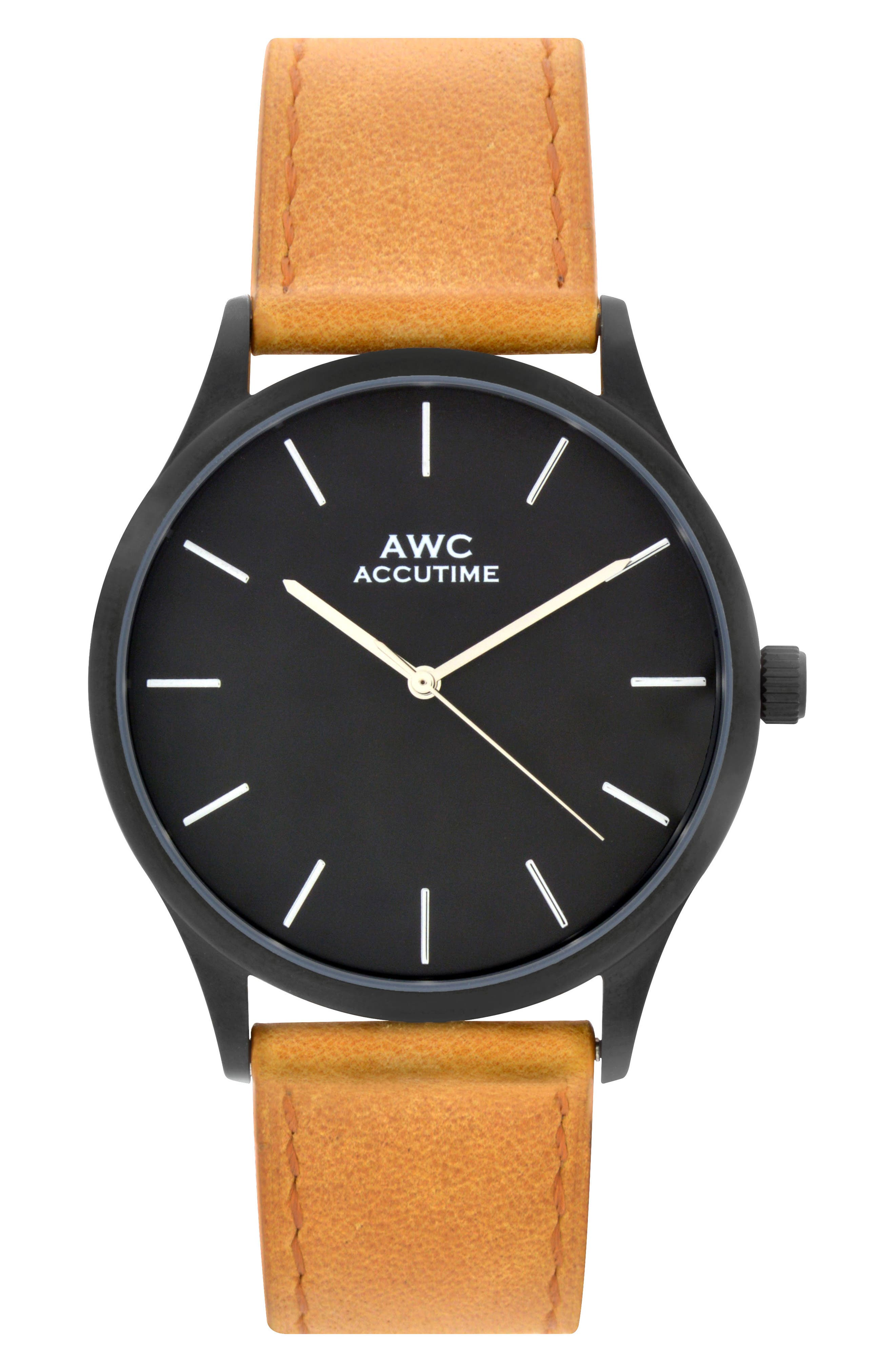 ACCUTIME Mark Leather Strap Watch, 42mm, Main, color, 260