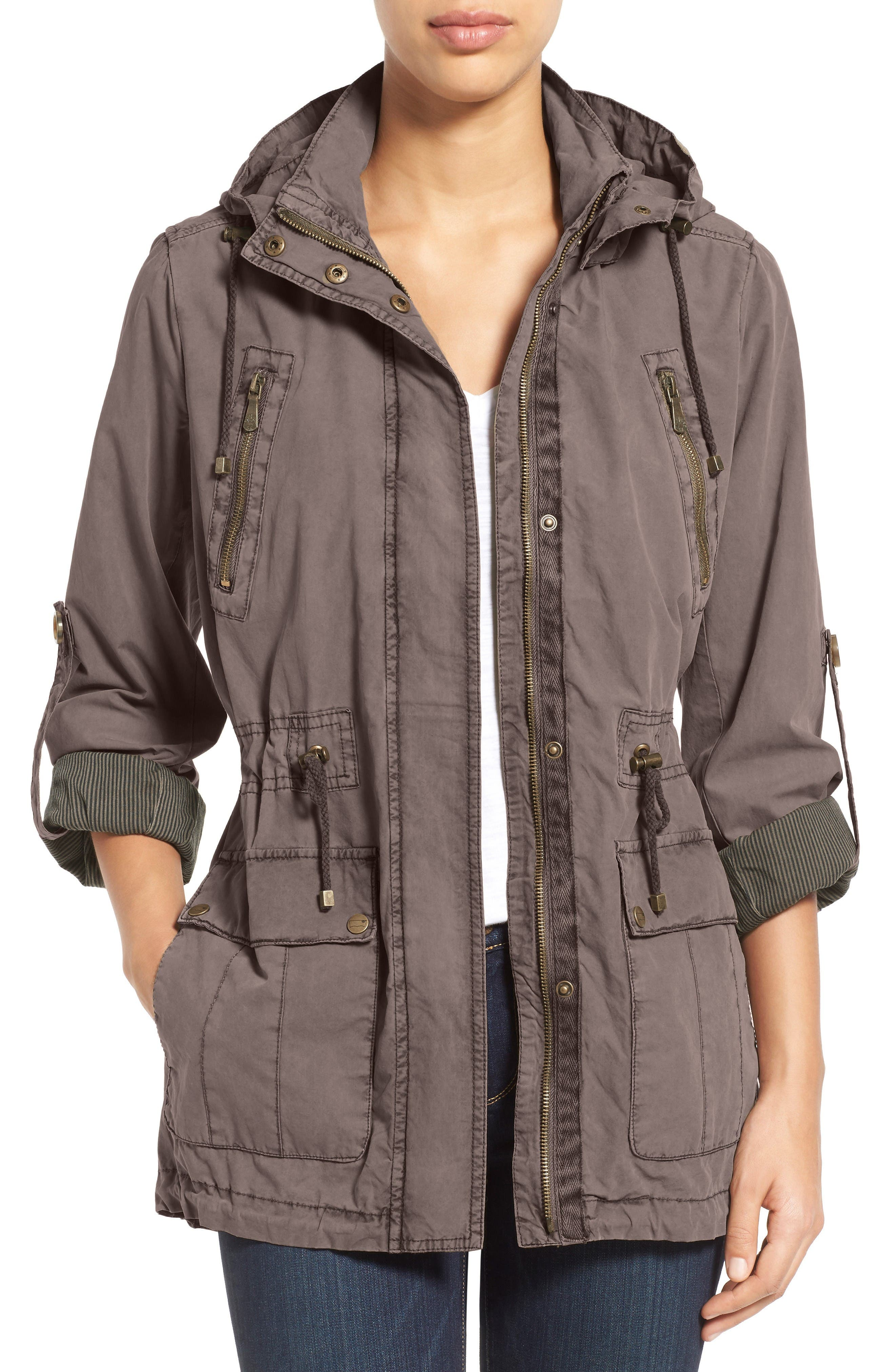 Parachute Hooded Cotton Utility Jacket,                             Main thumbnail 1, color,                             GREY