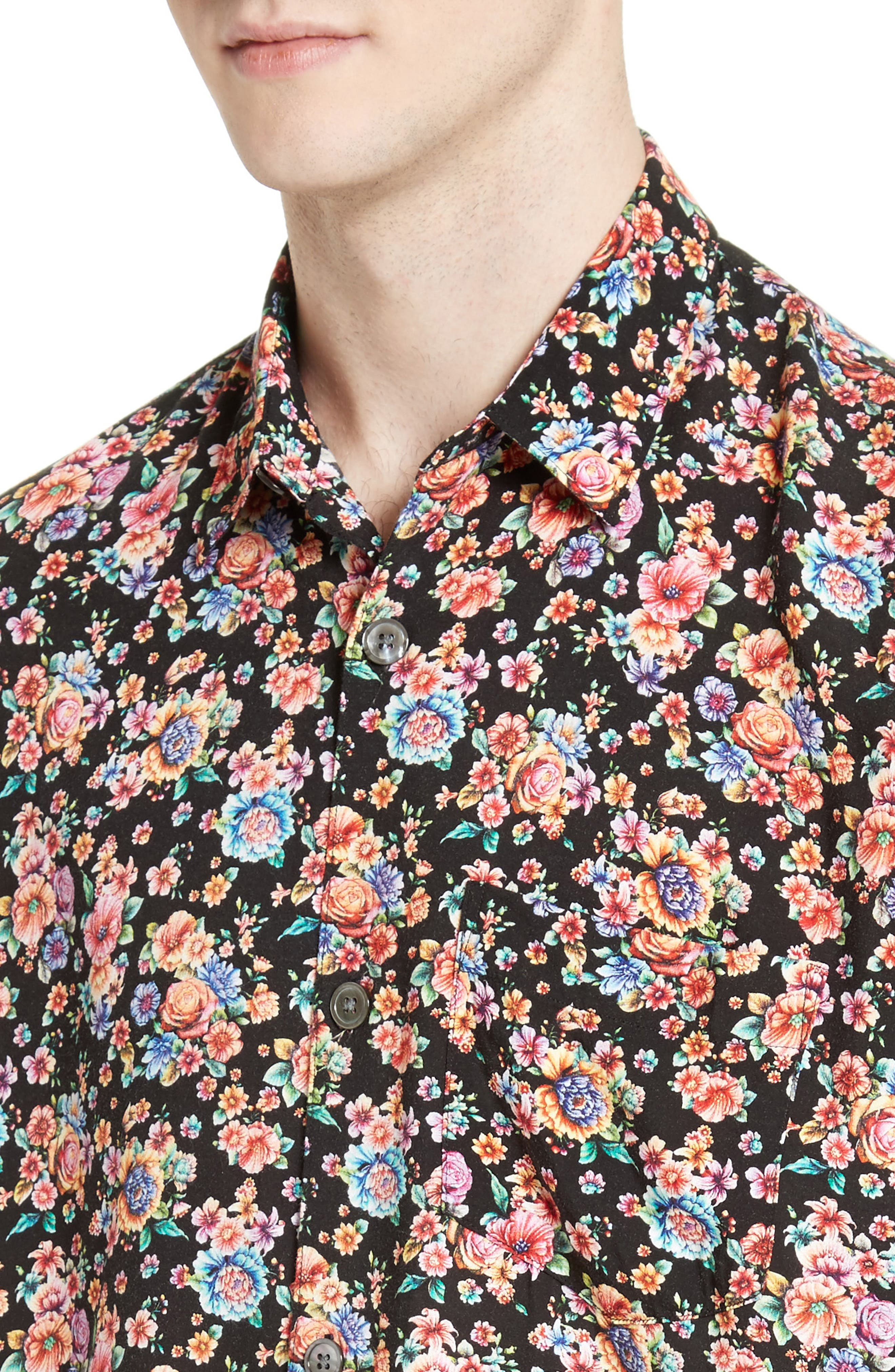 Floral Print Shirt,                             Alternate thumbnail 5, color,                             001