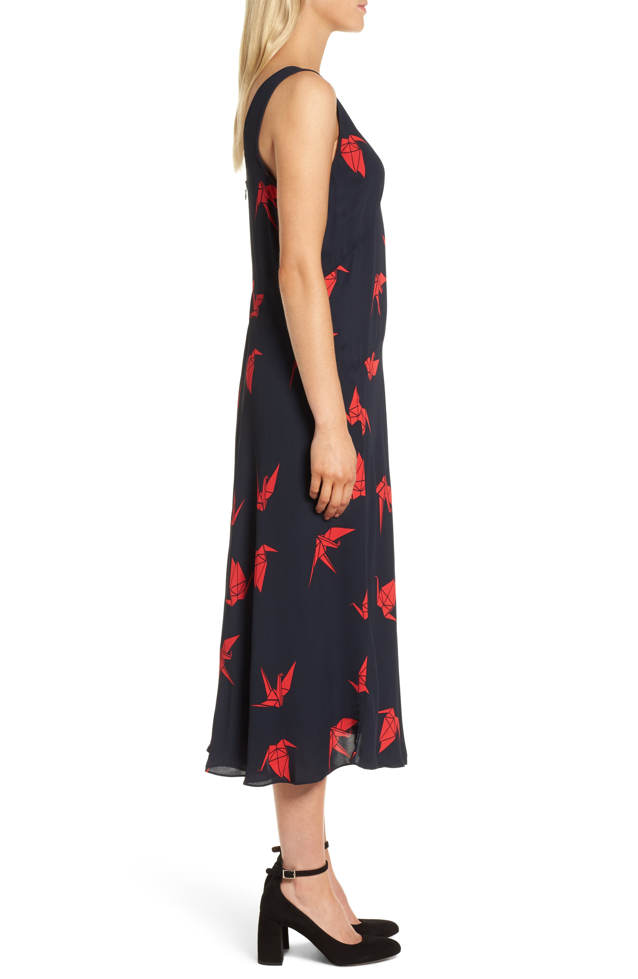 Print Midi Dress,                             Alternate thumbnail 3, color,