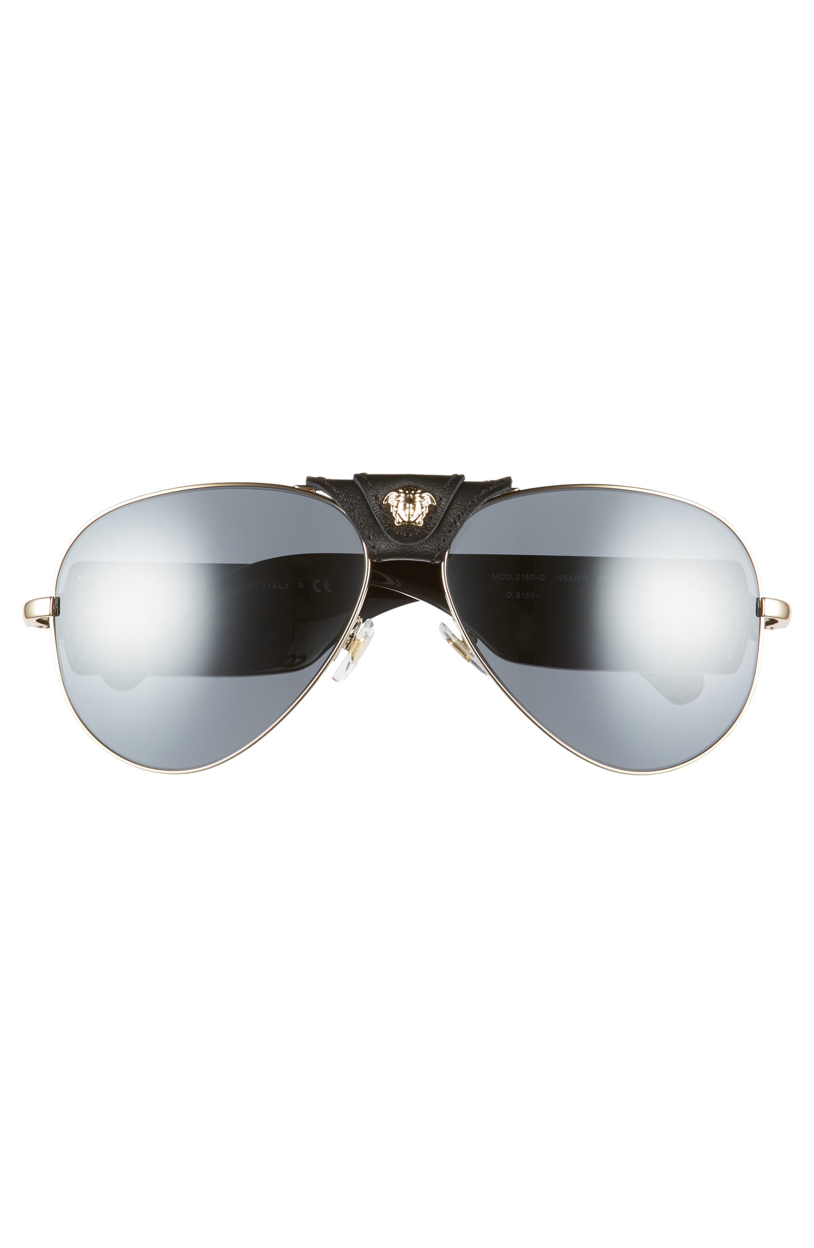 VERSACE,                             62mm Aviator Sunglasses,                             Alternate thumbnail 2, color,                             GOLD/ BLACK