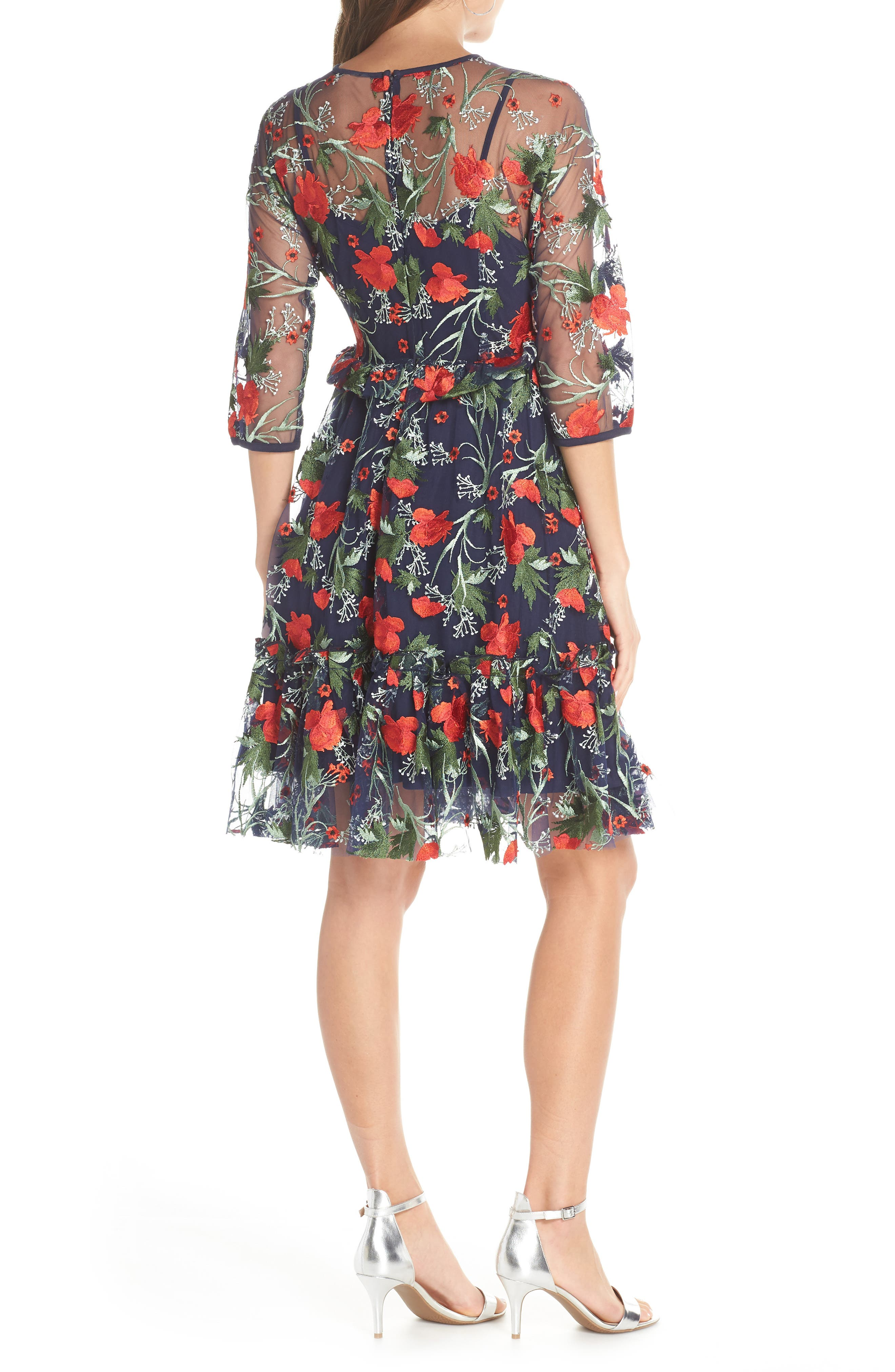 1901,                             Embroidered Mesh Fit & Flare Dress,                             Alternate thumbnail 2, color,                             RED FLORAL