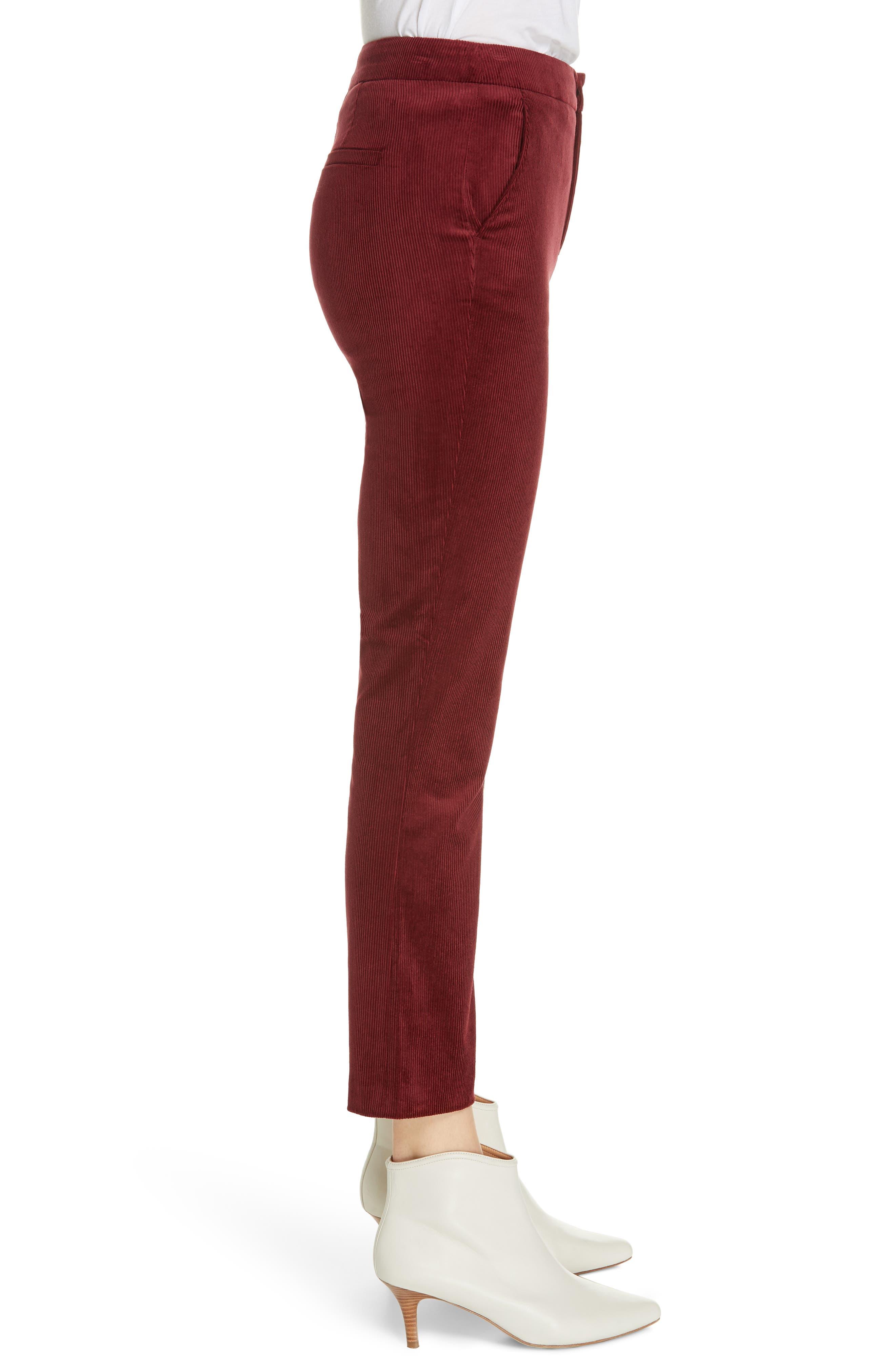 Marcena Velvet Crop Flared Pants,                             Alternate thumbnail 3, color,                             BLACKBERRY