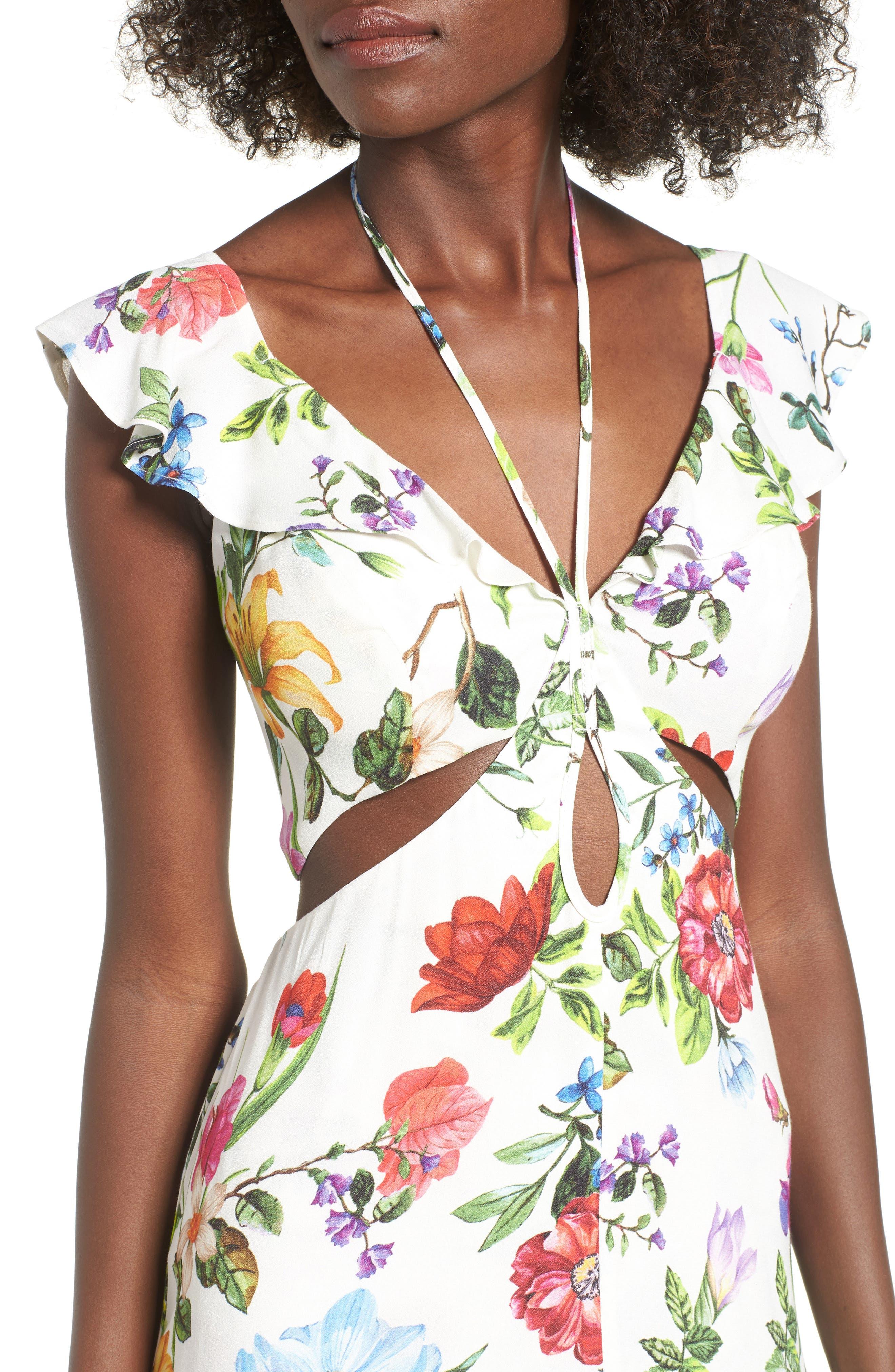 Alya Maxi Dress,                             Alternate thumbnail 4, color,                             JARDIN BLANC