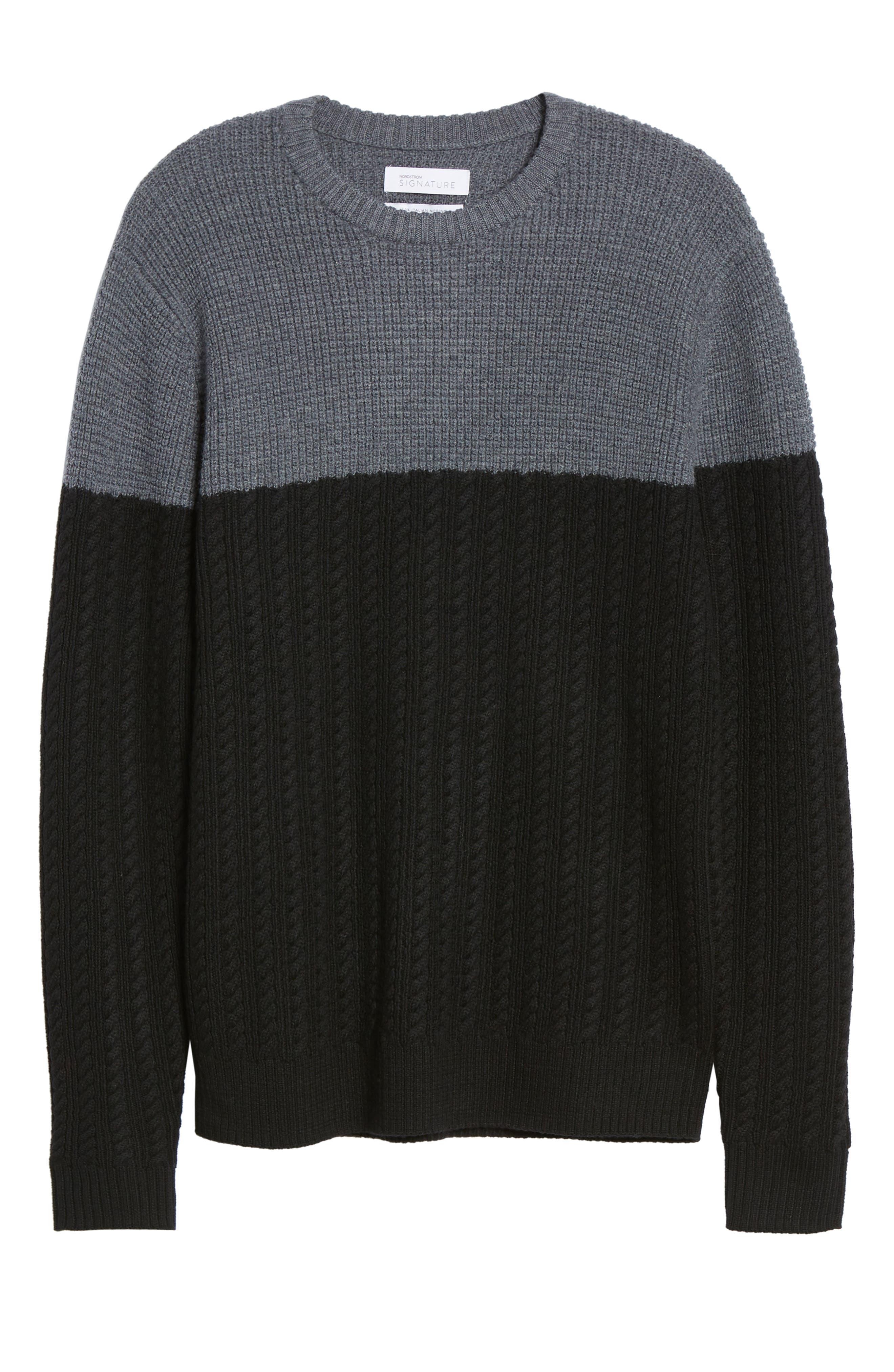 Block Merino Wool Cable Knit Sweater,                             Alternate thumbnail 6, color,                             BLACK CAVIAR COLORBLOCK