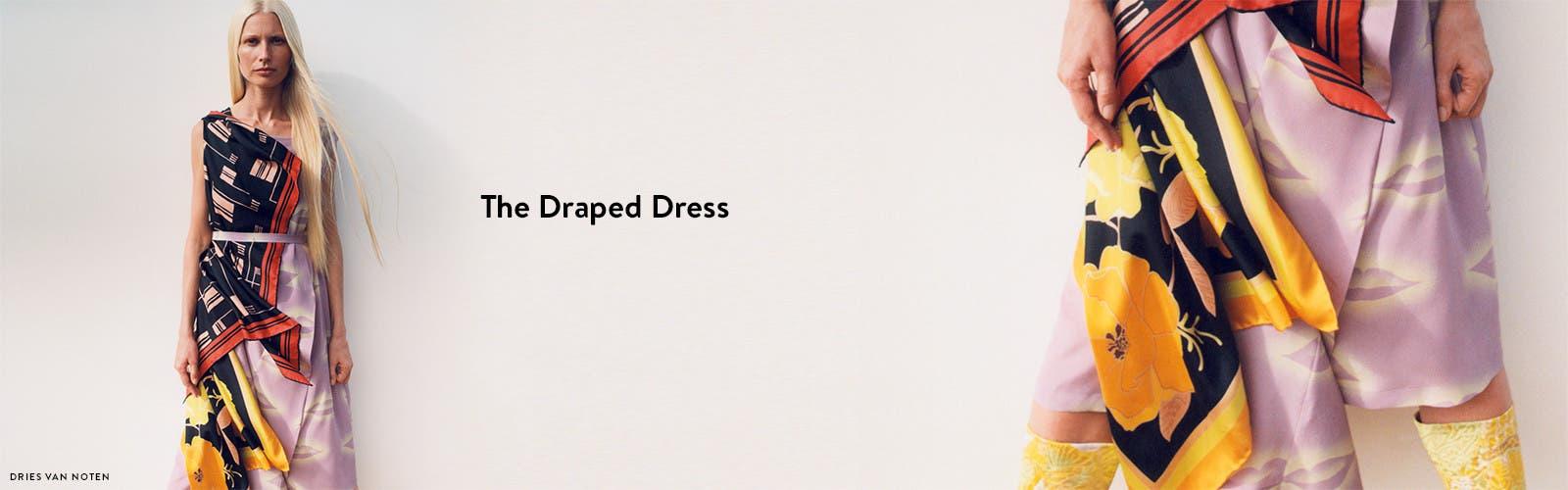 Draped designer dresses from Dries Van Noten and more.
