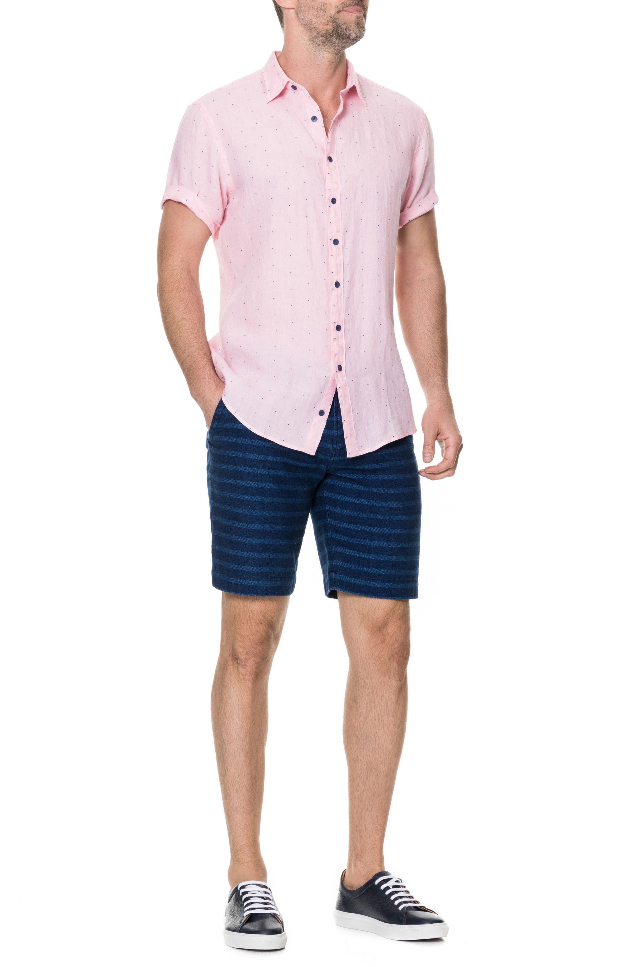 Landmark Slim Fit Dot Linen Sport Shirt,                             Alternate thumbnail 5, color,                             QUARTZ